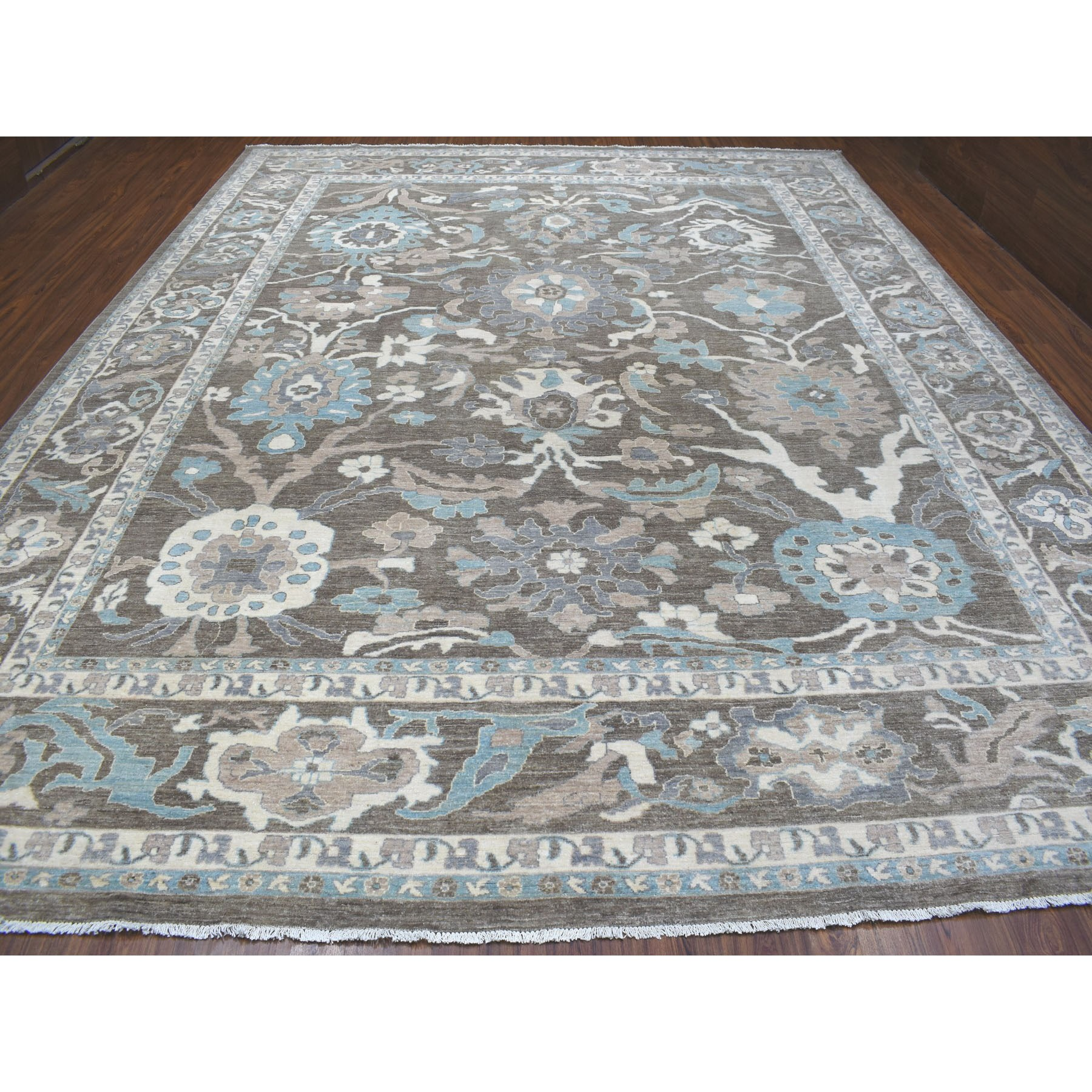 "11'9""x14'5"" Brown Peshawar With Mahal Design Organic Wool Hand Knotted Oversize Oriental Rug"
