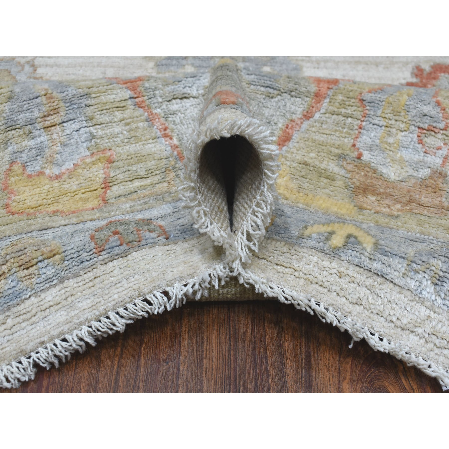"""9'x11'7"""" Hand Knotted Ivory Angora Oushak With Floral Motifs Pure Wool Oriental Rug"""