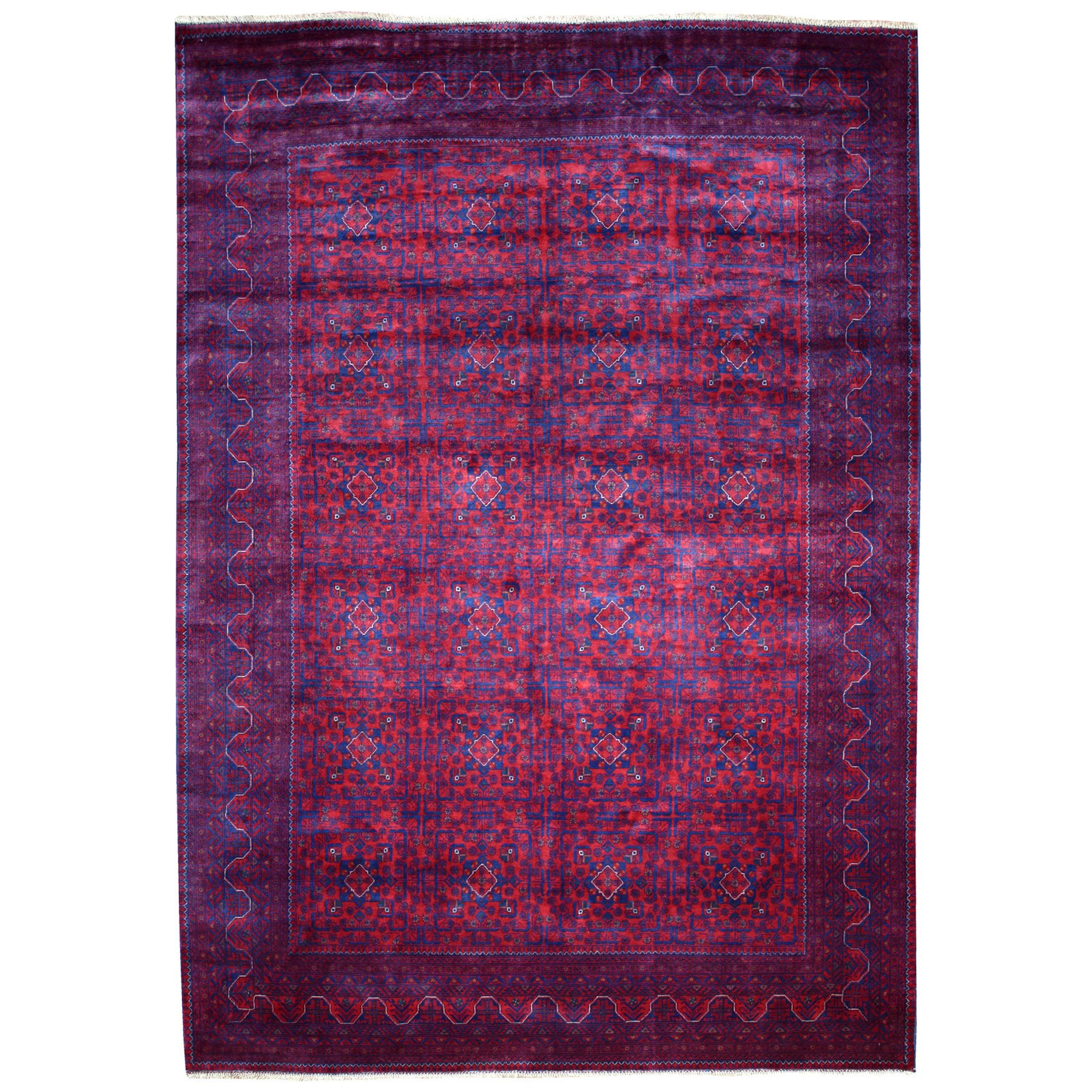 """8'2""""x12'  Afghan Khamyab Natural Dyes Velvety Wool Hand Knotted Oriental Rug"""
