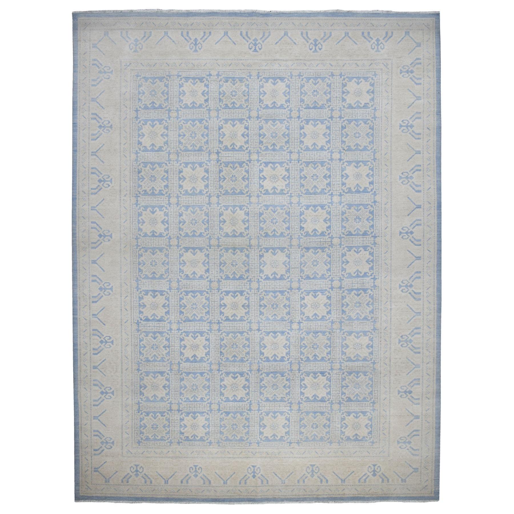 "10'1""x12'8"" Blue Stone Wash Peshawar Pure Wool Khotan Design Hand Knotted Oriental Rug"