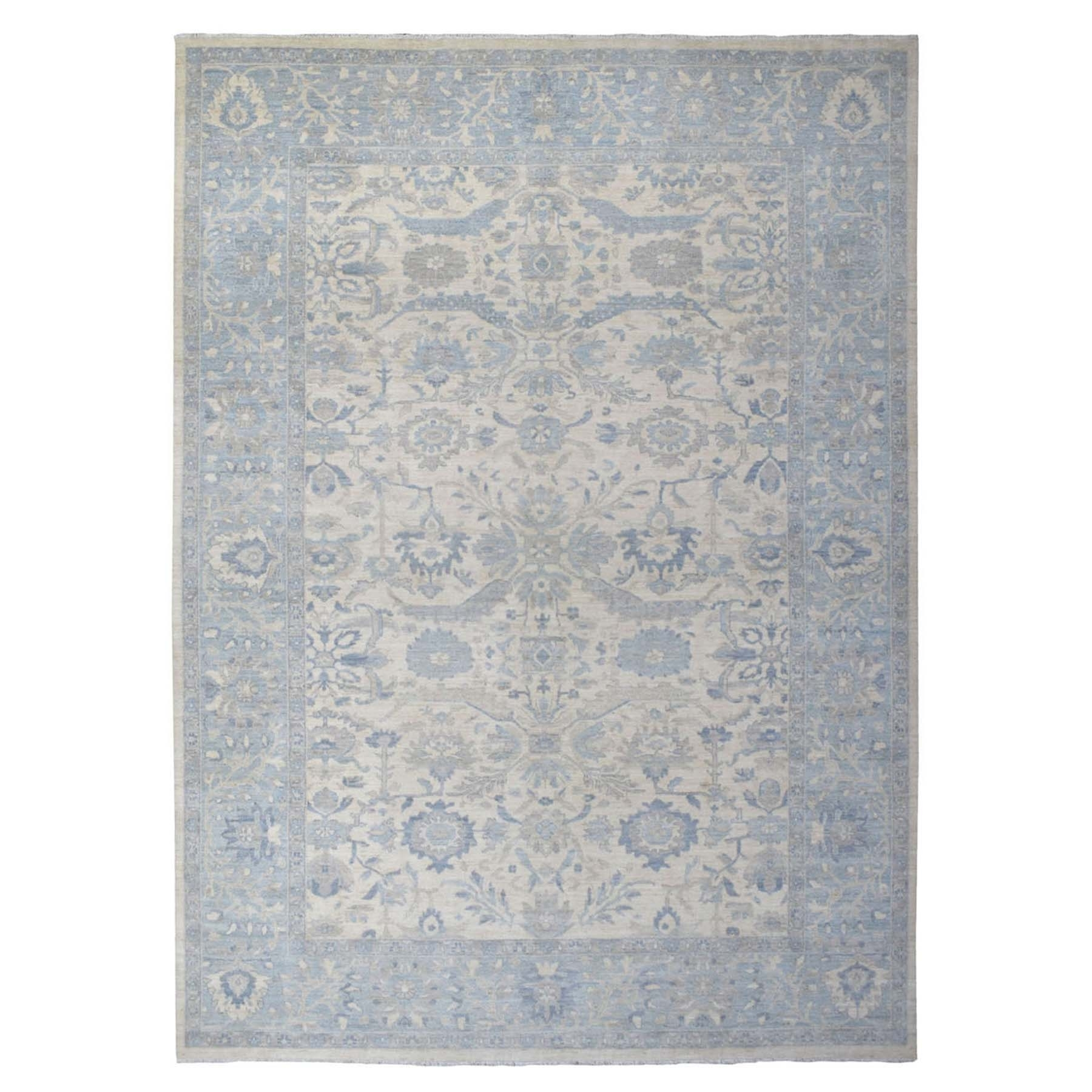 """9'9""""X13'7"""" White Wash Peshawar With Oushak Design Organic Wool Hand Knotted Oriental Rug moaee69a"""