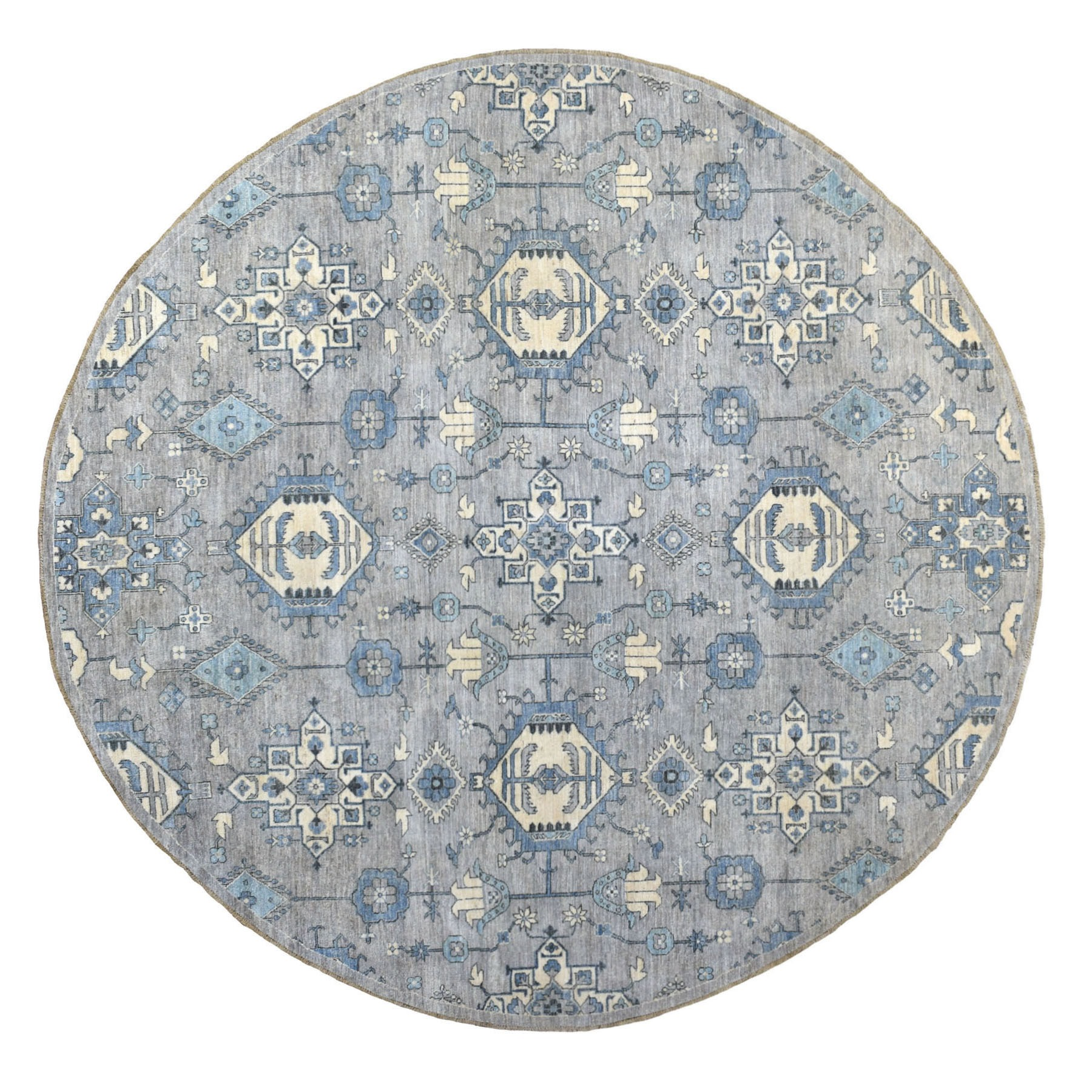 """10'X10'3"""" Round Gray Peshawar With Karajeh Design, Touches Of Blue Pure Wool Hand Knotted Oriental Rug moaee709"""