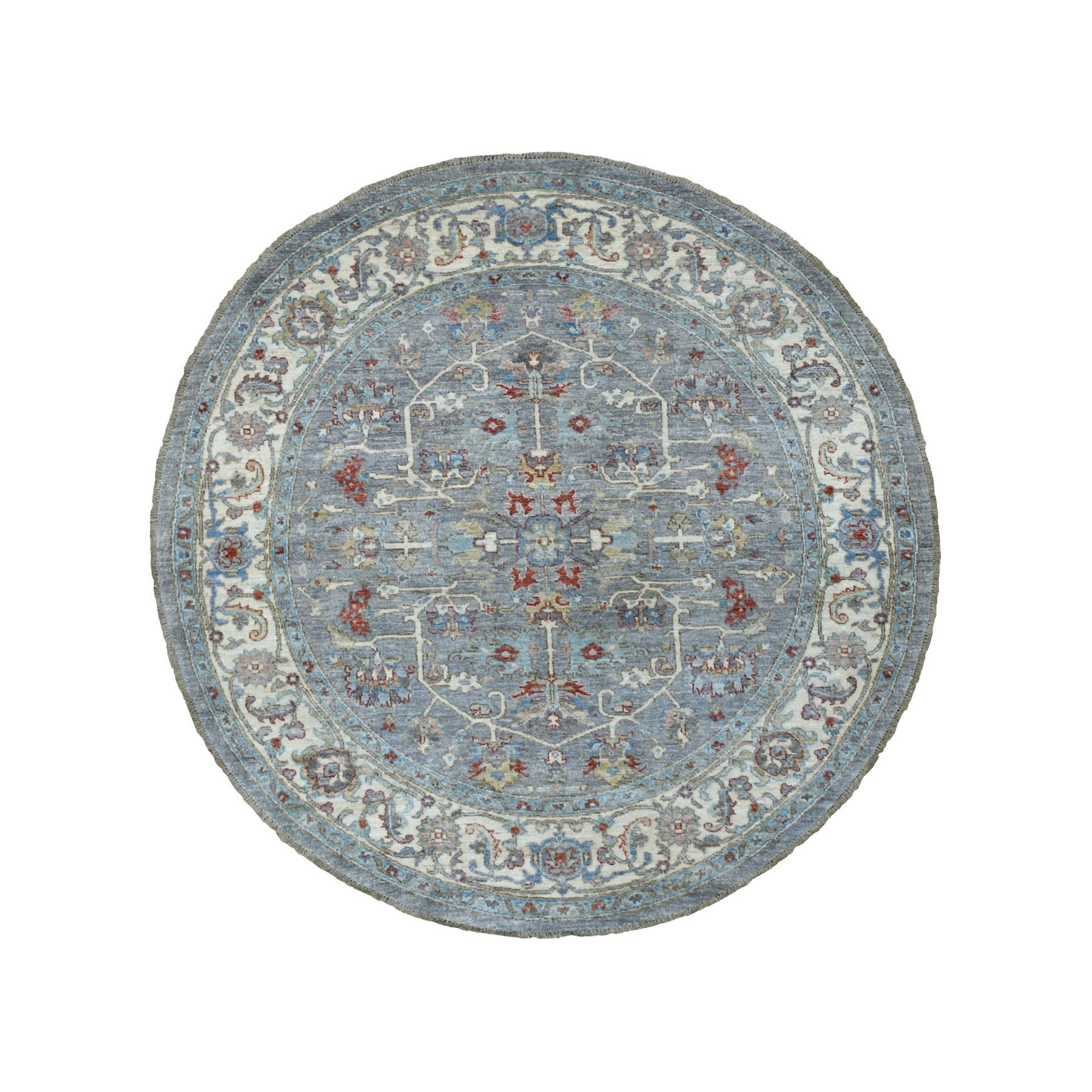 "6'1""X6'3"" Gray Peshawar With Heriz Design Organic Wool Round Hand Knotted Oriental Rug moaee7aa"