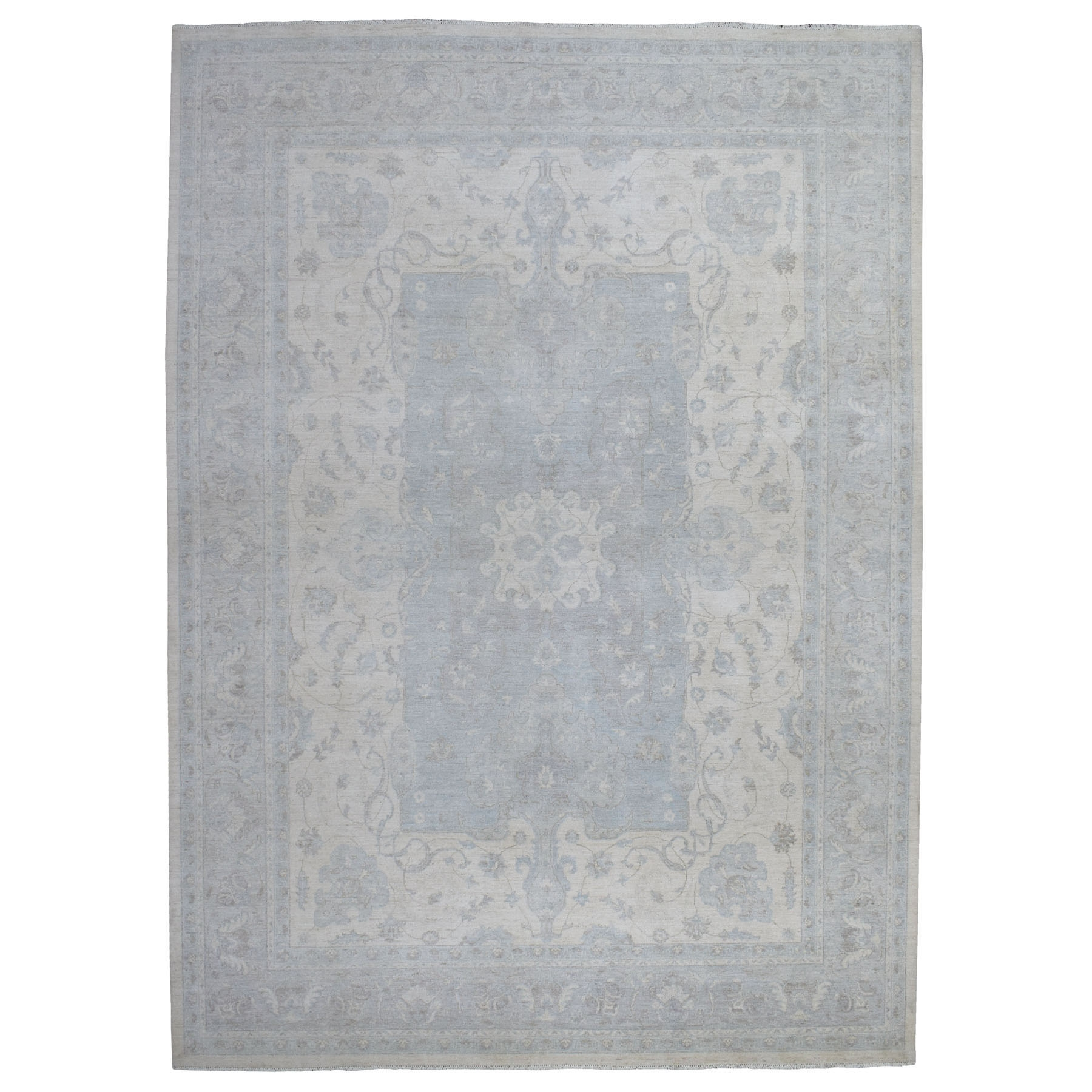 "9'10""x13'9"" White Wash Peshawar Pure Wool Hand Knotted Oriental Rug"