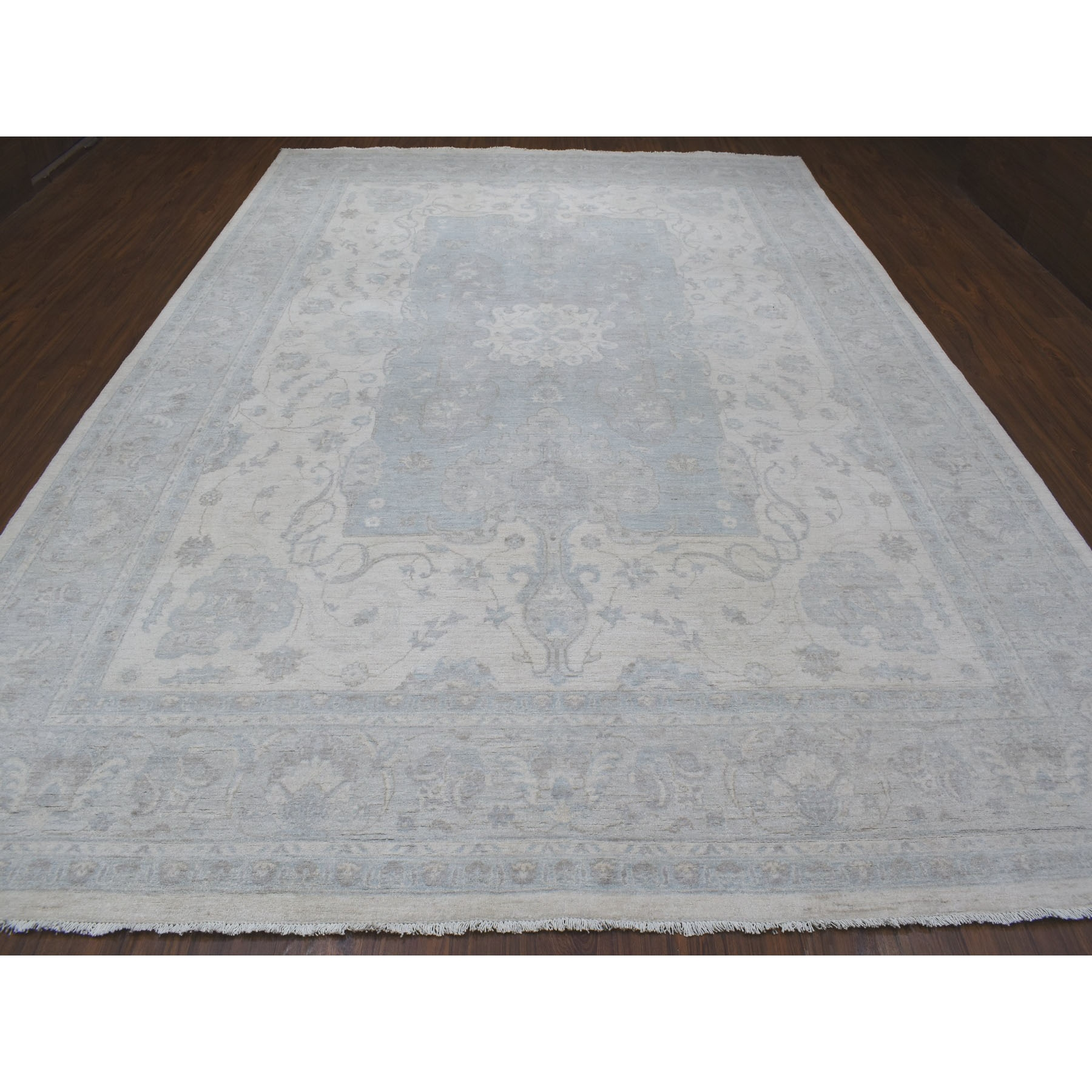 """9'10""""x13'9"""" White Wash Peshawar Pure Wool Hand Knotted Oriental Rug"""