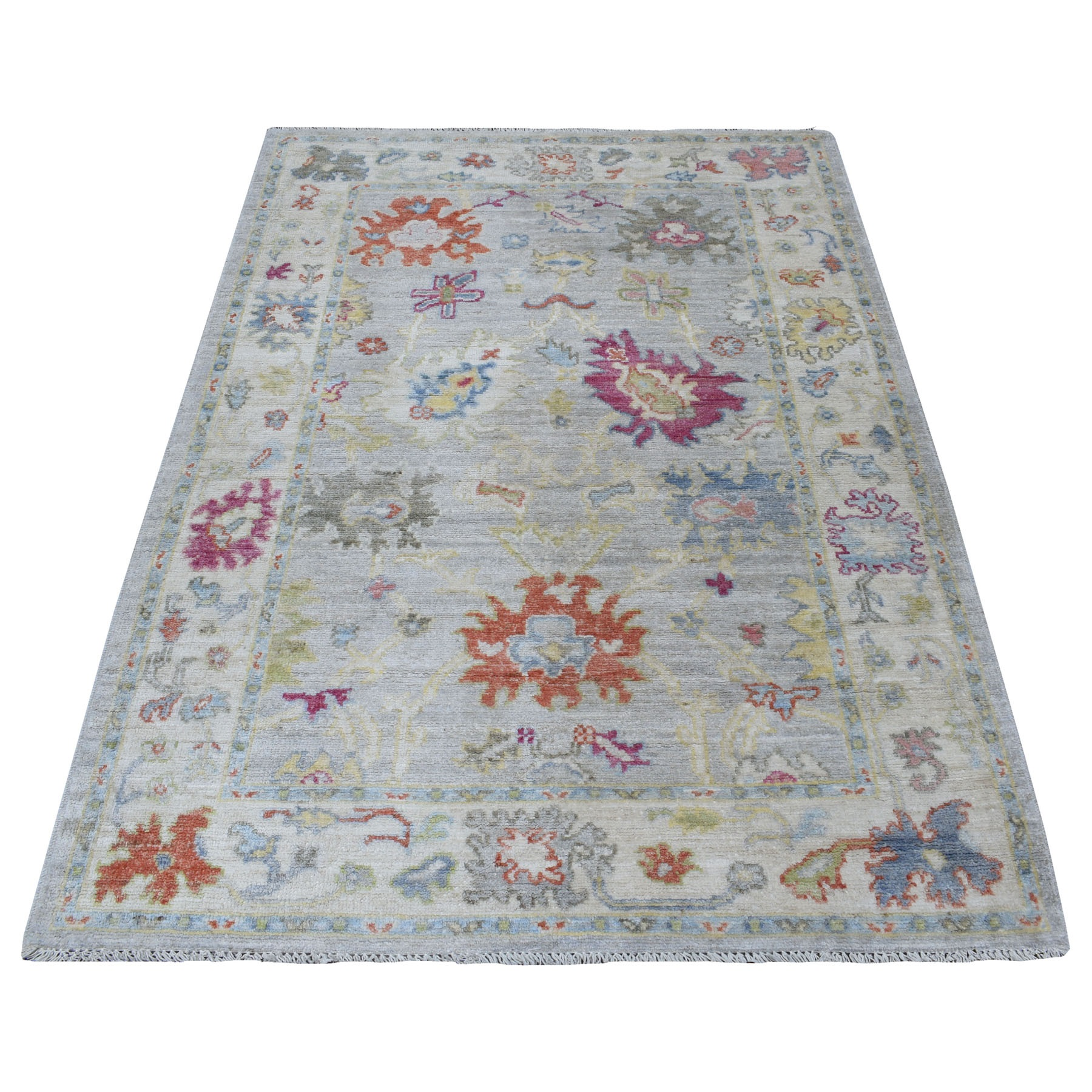 """4'1""""X6' Gray Angora Oushak In A Colorful Palette Pure Wool Hand Knotted Oriental Rug moaee7de"""