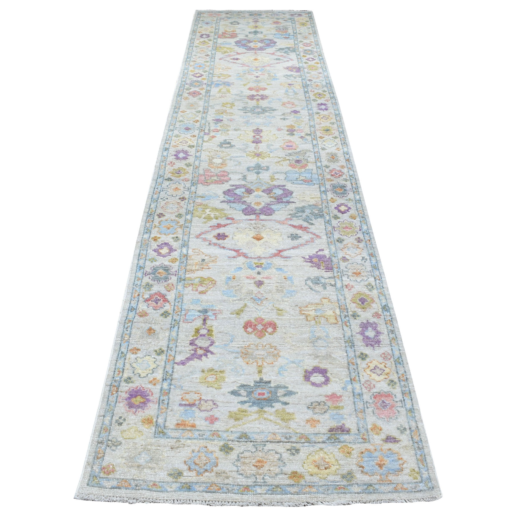 """3'1""""X13'7"""" Ivory Angora Oushak With Floral Motifs Pure Wool Hand Knotted Oriental Runner Rug moaee7d7"""
