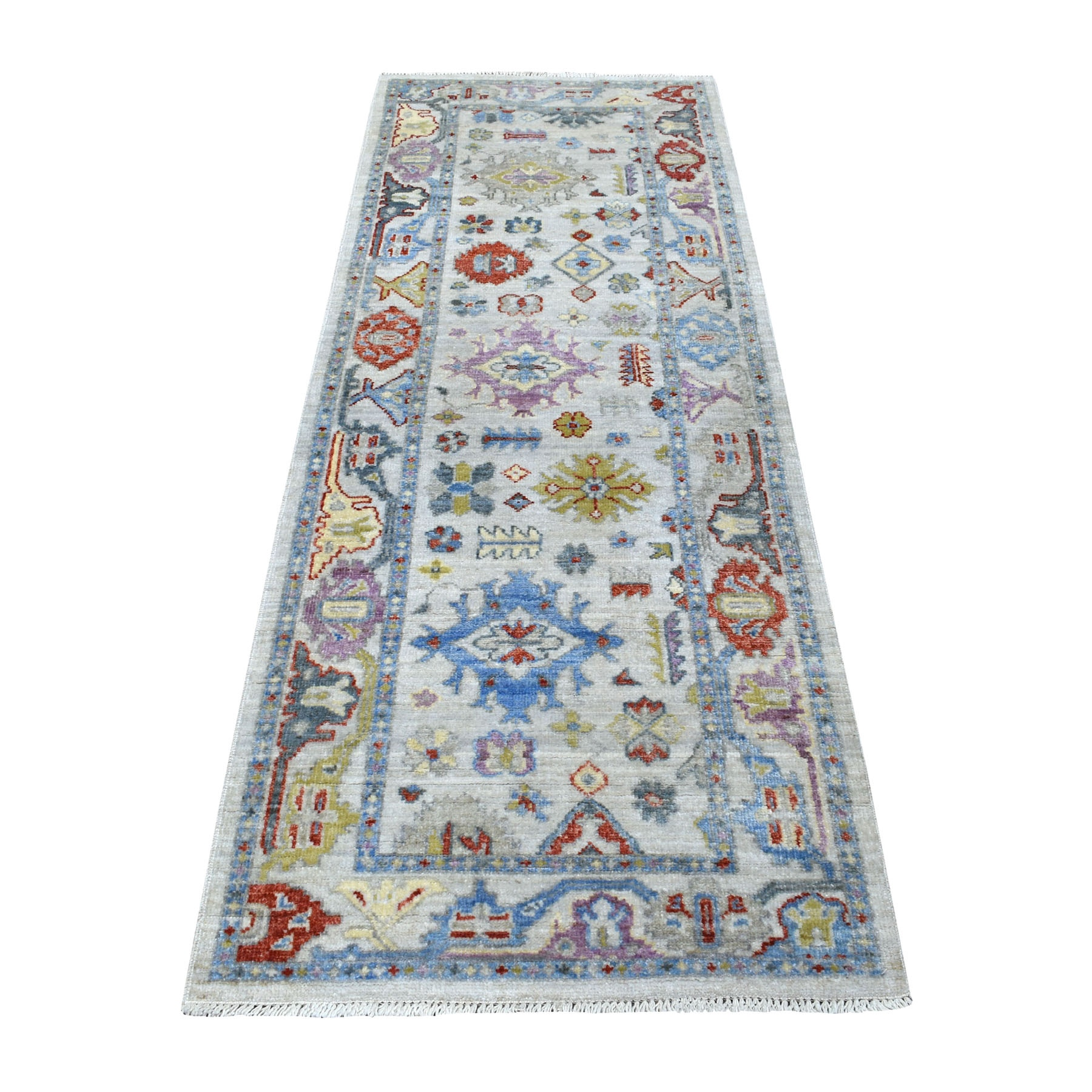 """2'10""""X7'9"""" Hand Knotted Light Gray With Pop Of Color Angora Oushak Pure Wool Runner Oriental Rug moaee7d8"""