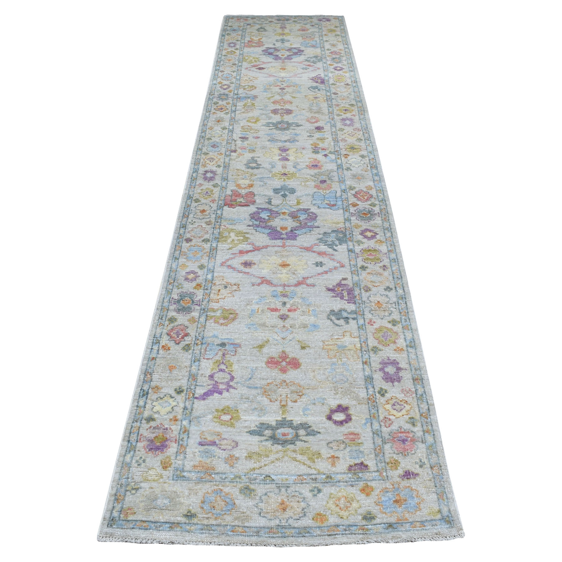 """3'X13'8"""" Soft Velvety Wool Hand Knotted Gray With Soft Colors Angora Oushak Oriental Runner Rug moaee7ec"""