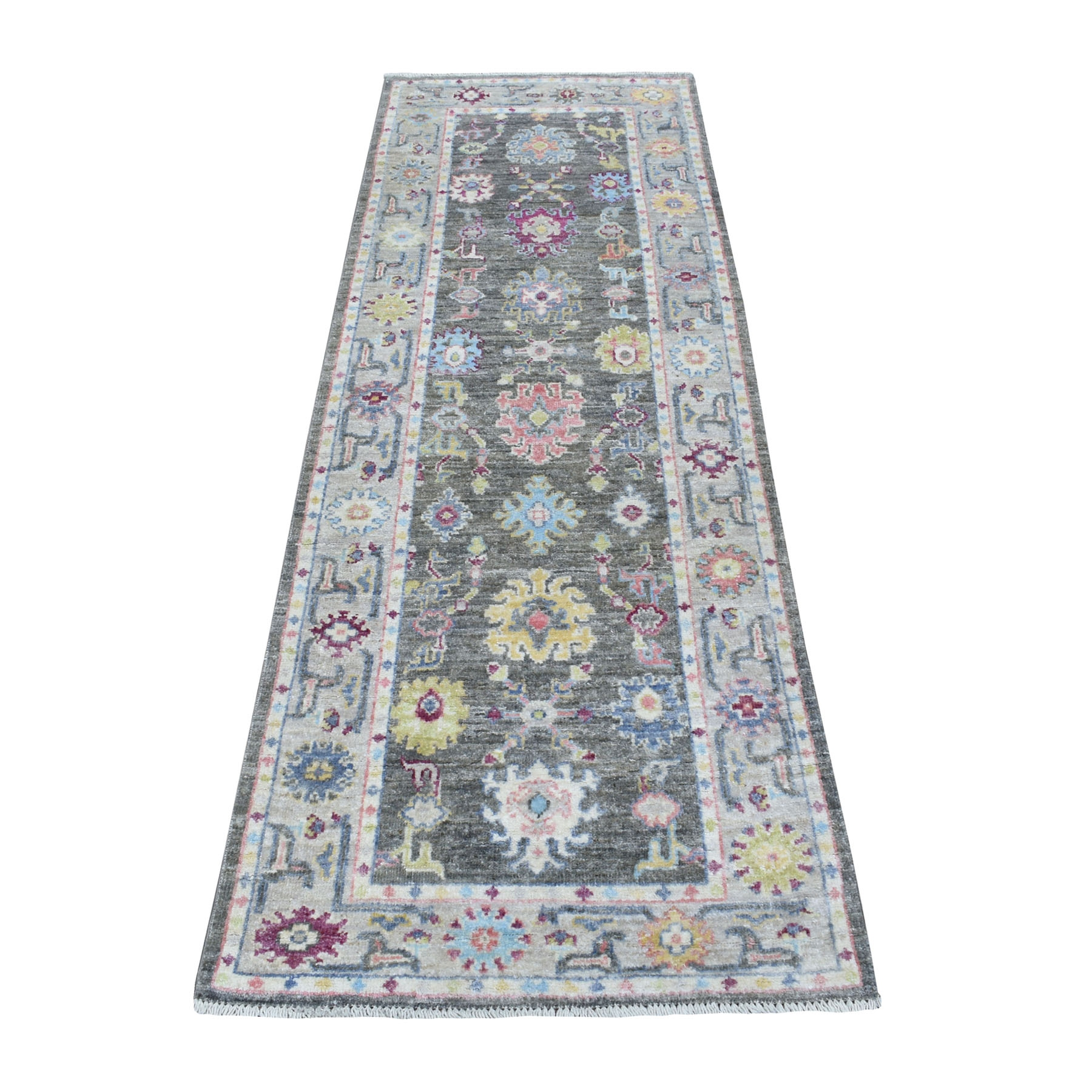 """2'8""""X7'10"""" Angora Oushak With Floral Motifs Dark Gray Pure Wool Hand Knotted Oriental Runner Rug moaee7ed"""