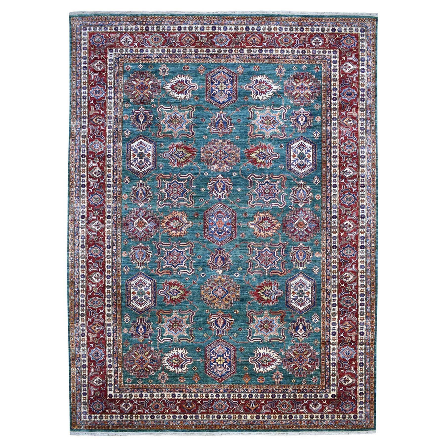 "9'8""X13'8"" Teal Hand-Knotted Tribal Design Pure Wool Super Kazak Oriental Rug moaee768"