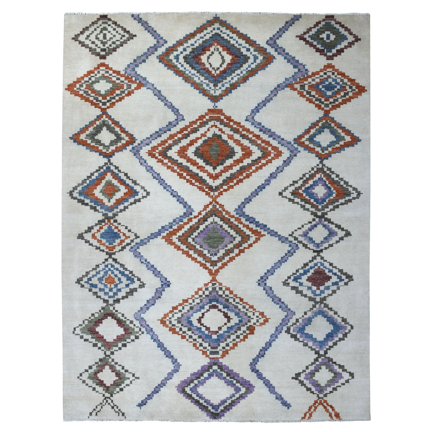 9'X12' Ivory Hand Knotted Pure Wool Thick And Plush Moroccan Berber Boujaad Design Oriental Rug moaee78e