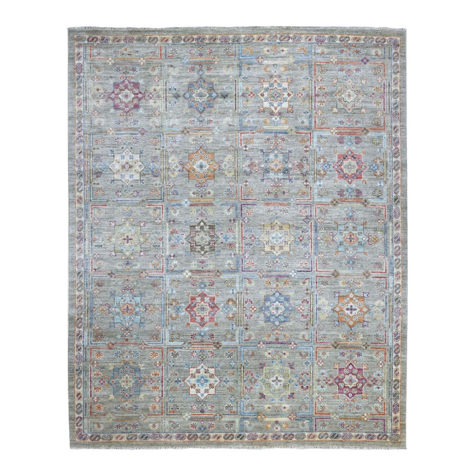 "8'3""x10' Shiny Wool With Garden Design Hand Knotted Gray Oriental Rug"
