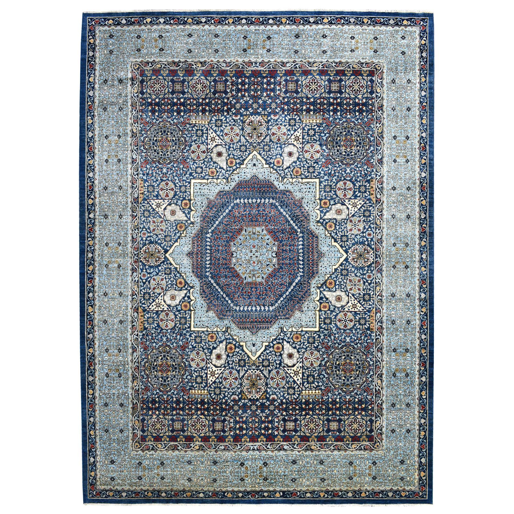 9'x12' Blue Fine Peshawar Mamluk Design With Denser Weave Shiny Wool Even Pile Hand Knotted Oriental Rug