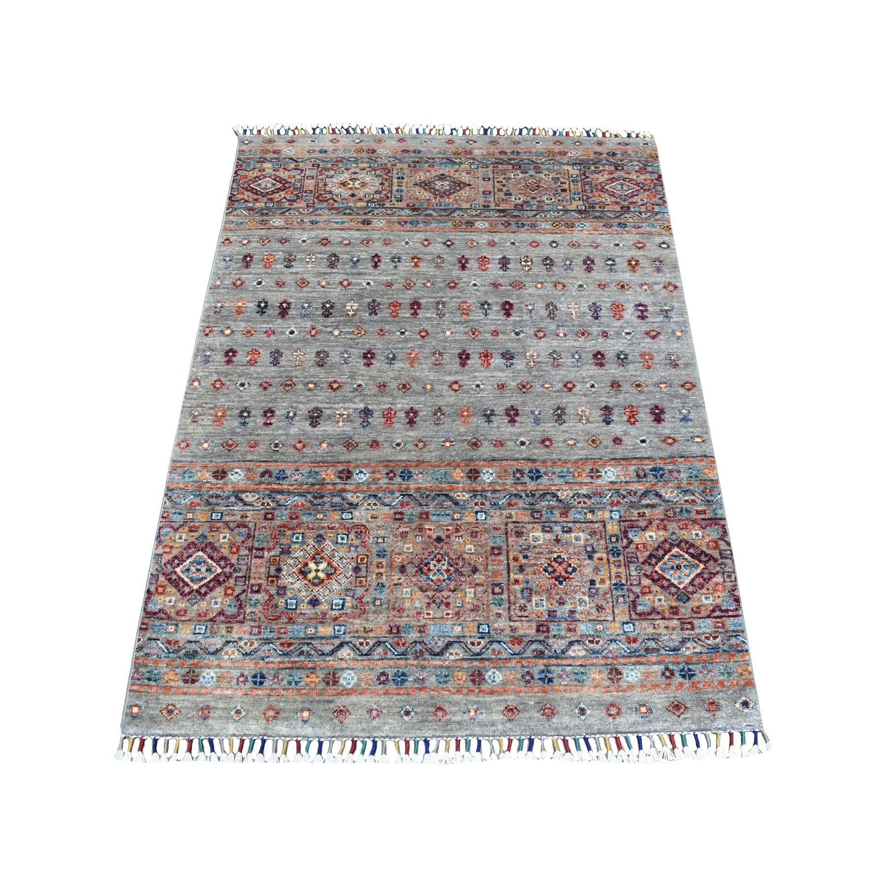 "3'3""x4'8"" Gray Khorjin Design Geometric Super Kazak Pure Wool Hand Knotted Oriental Rug"