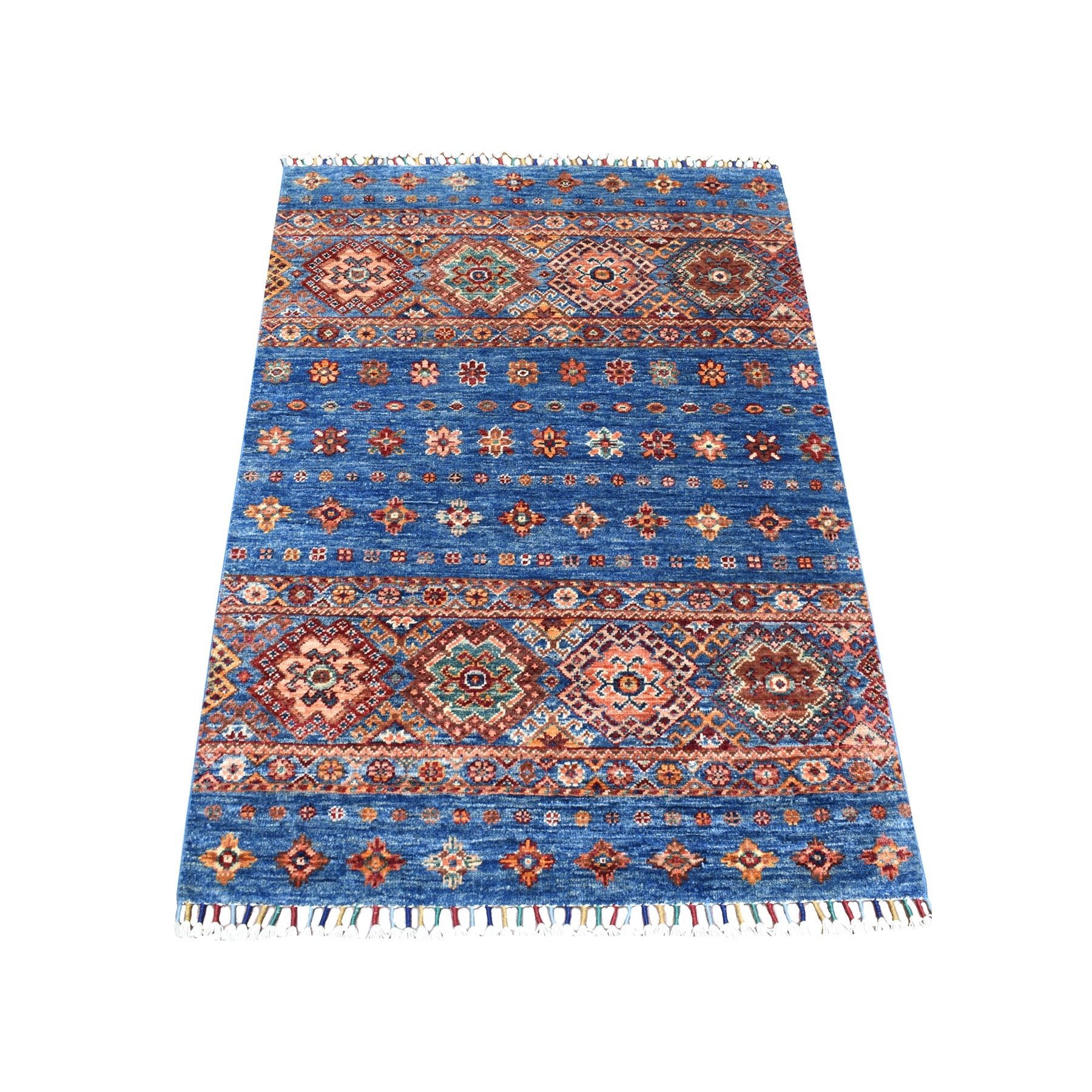 "2'10""x4'1"" Gray Khorjin Design Geometric Super Kazak Natural Wool Hand Knotted Oriental Rug"