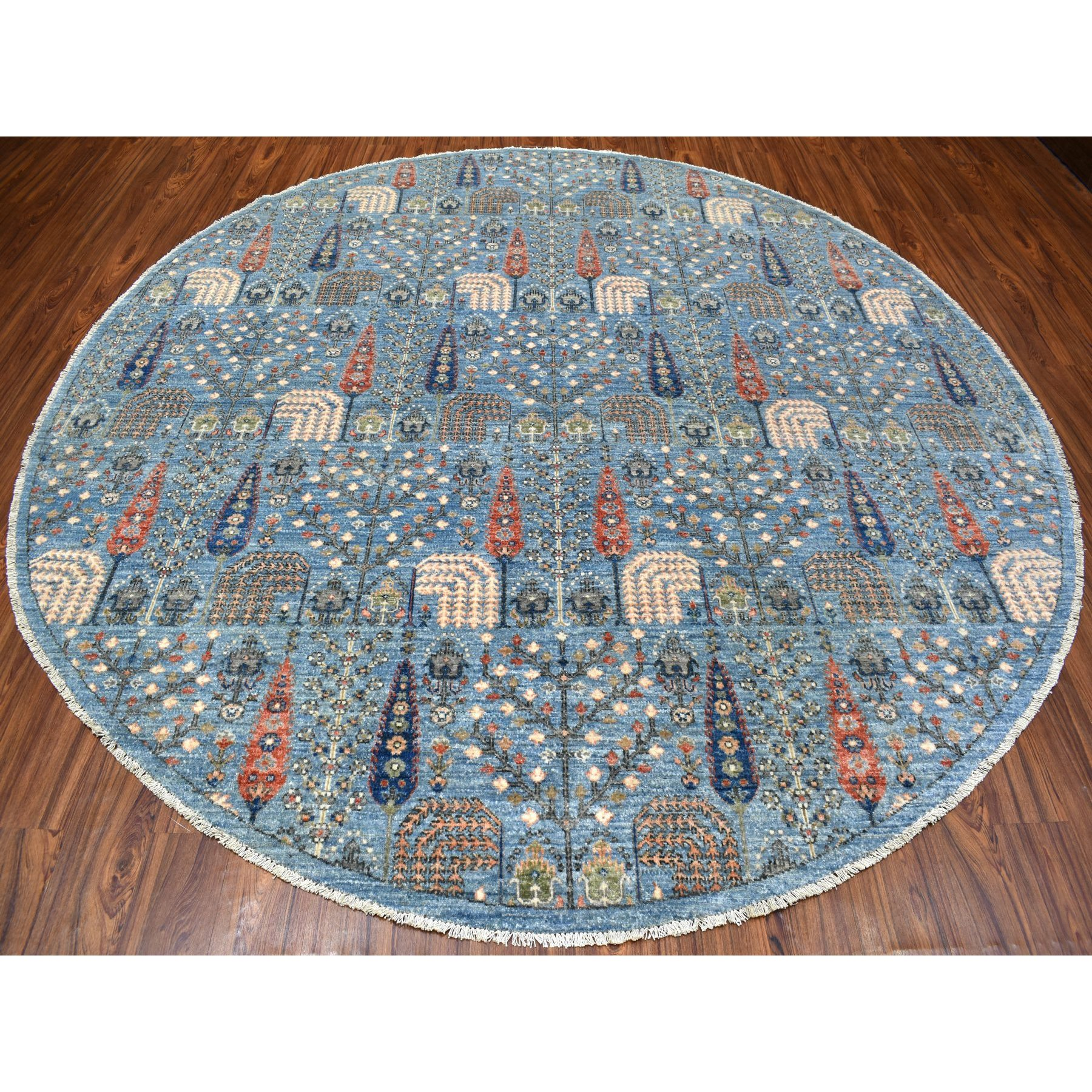 """9'4""""x9'4"""" Round Blue Willow And Cypress Tree Design Organic Wool Hand Knotted Rug"""