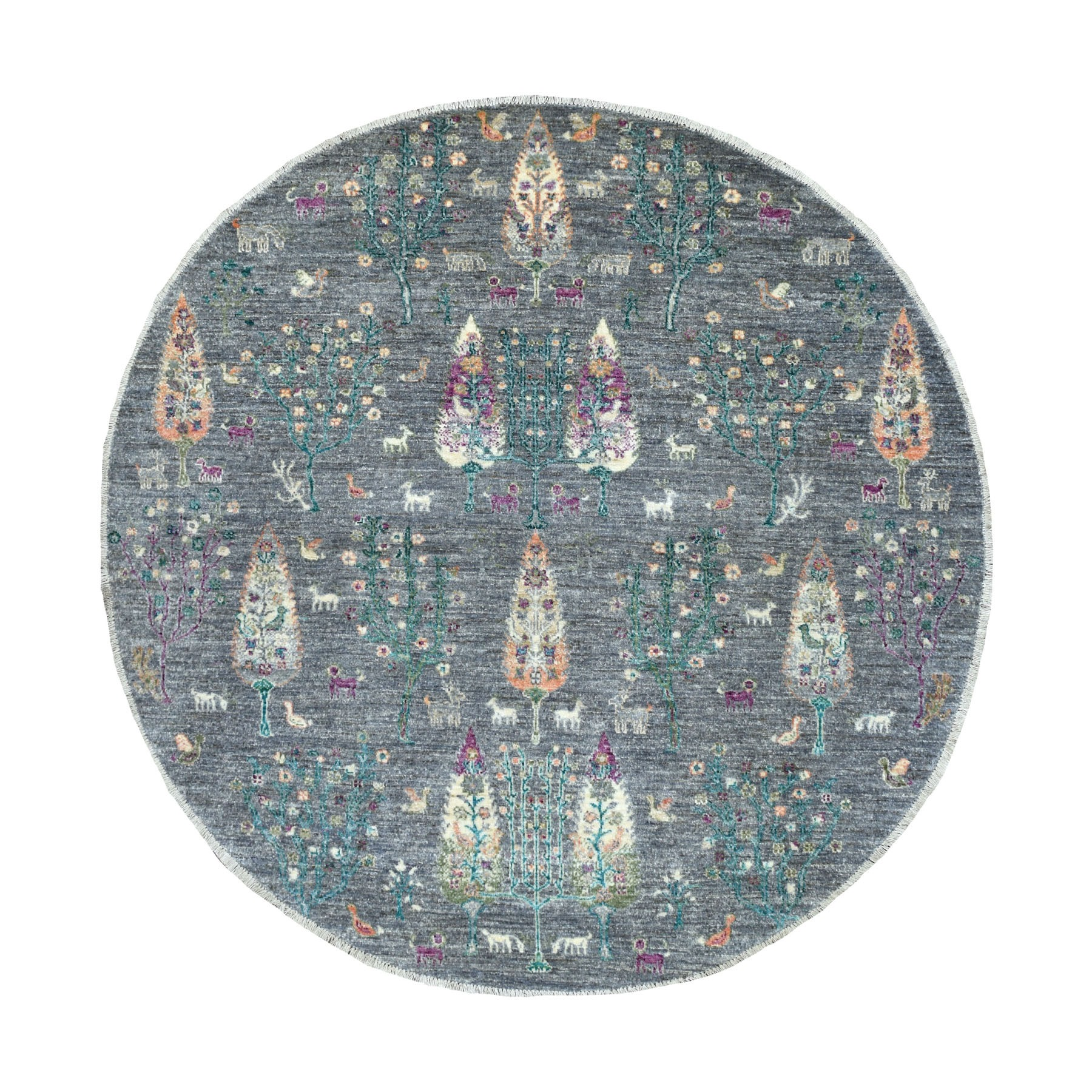 6'x6' Round Folk Art Willow And Cypress Tree Design Hand Knotted Oriental Rug
