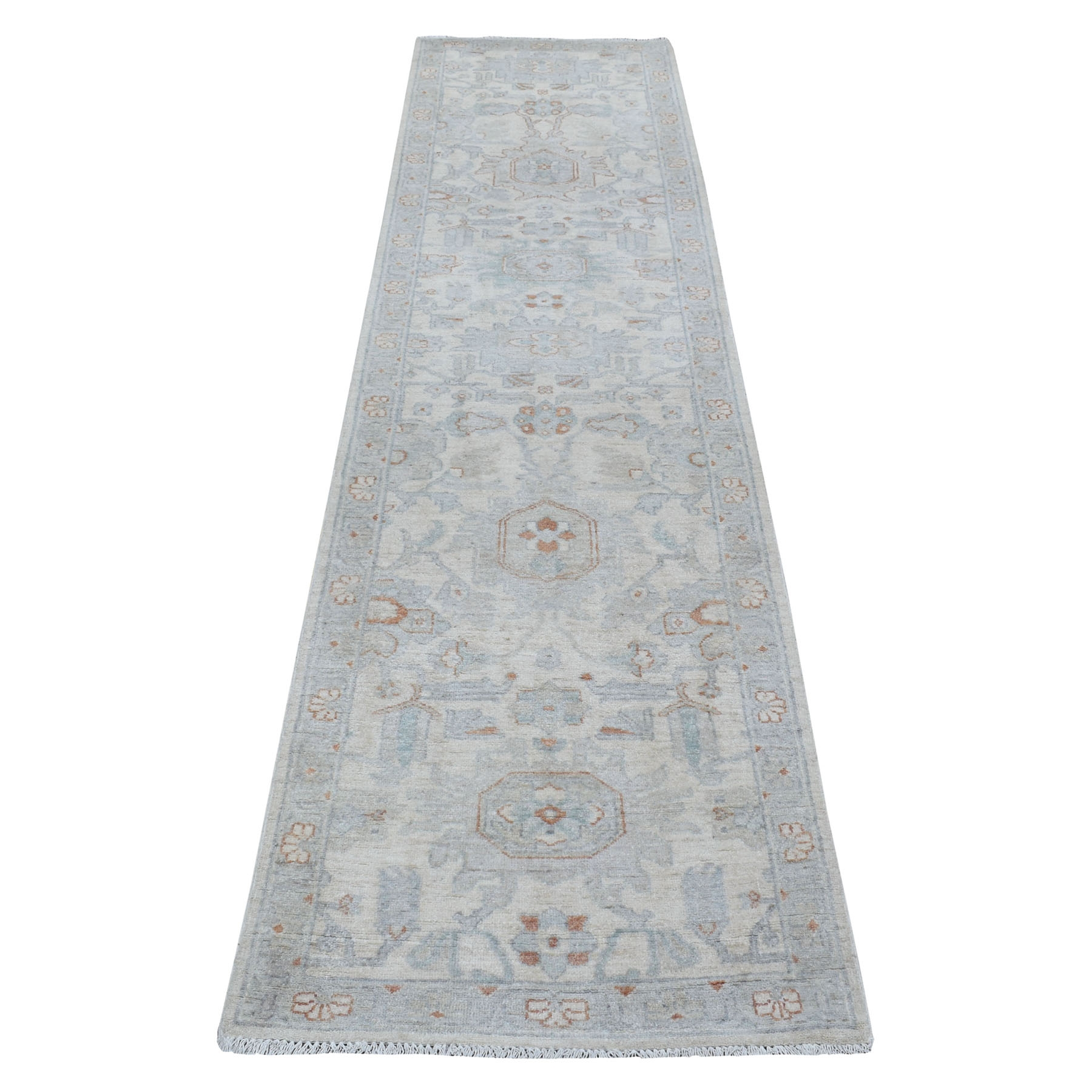 """2'5""""x9'10"""" Washed Out Peshawar Pure Wool Hand Knotted Oriental Runner Rug"""
