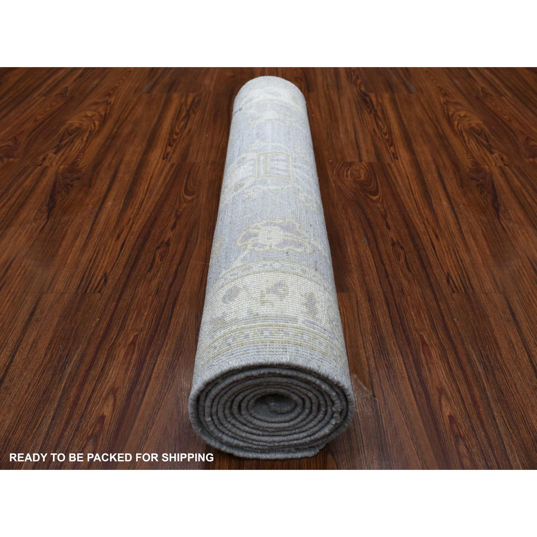 "2'9""x9'8"" Gray Stone Wash Peshawar Organic Wool Hand Knotted Oriental Runner Rug"