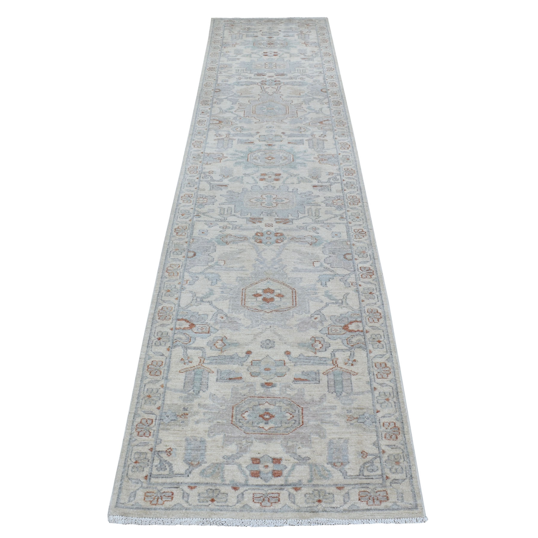 "2'7""x11'7"" White Wash Peshawar Natural Wool Hand Knotted Oriental Runner Rug"