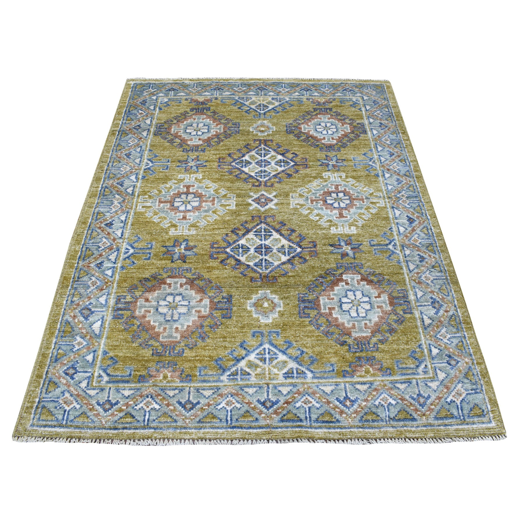 "4'1""x6' Anatolian Design With Glimmery Wool Mustard Color Hand Knotted Oriental Rug"