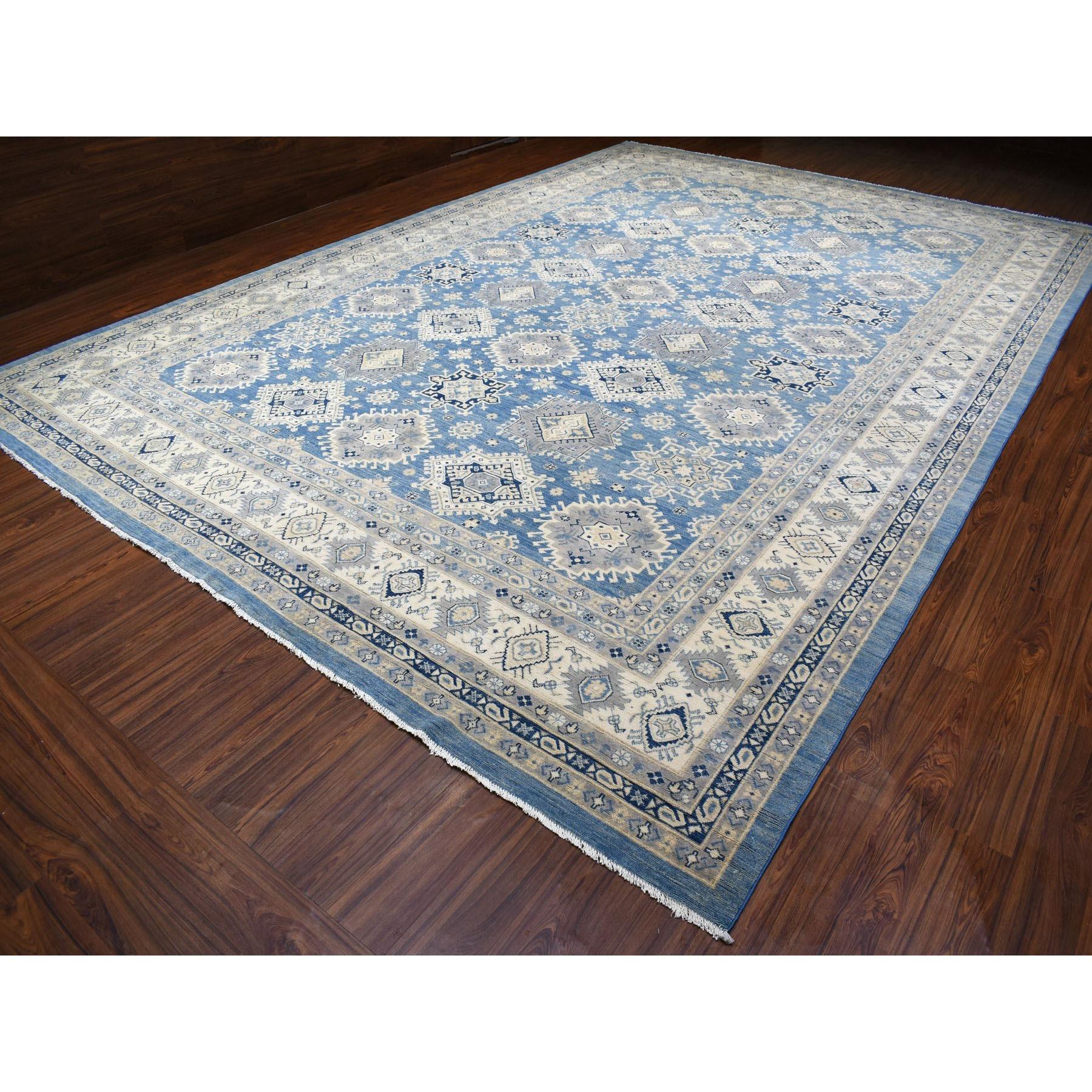 "12'1""x17'5"" Oversized Blue Vintage Look Kazak Hand Knotted Natural Wool Oriental Rug"