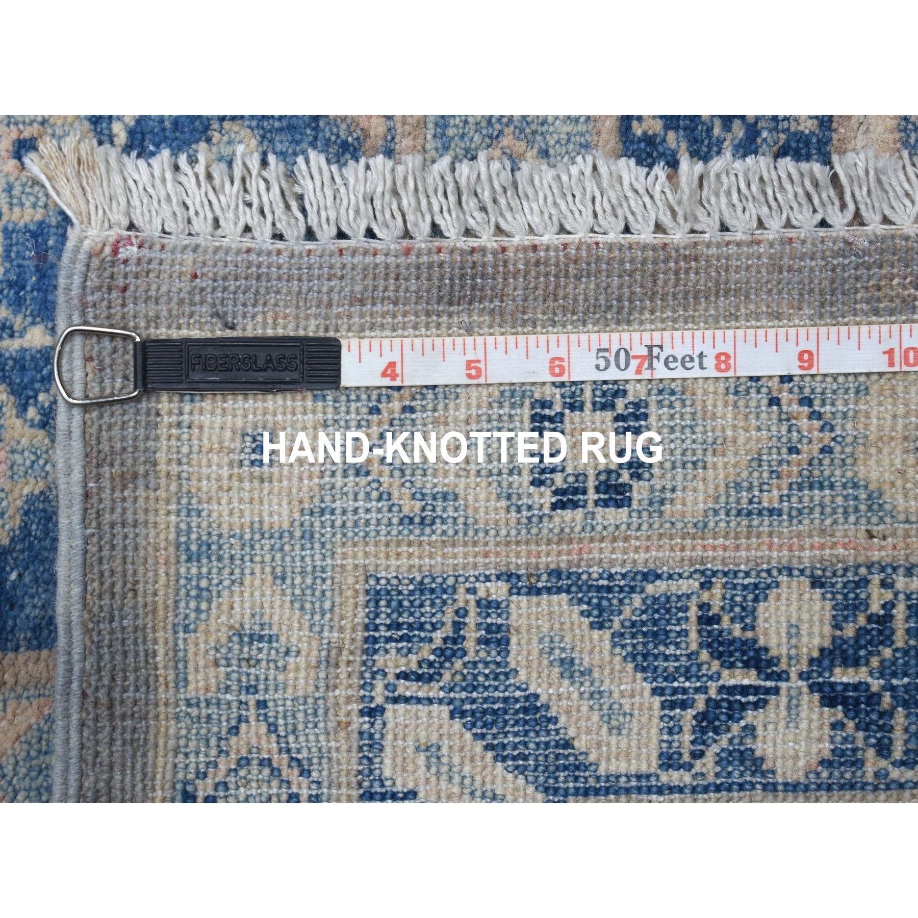 "9'6""x13'8"" Gray Vintage Look Kazak Hand Knotted Natural Wool Oriental Rug"