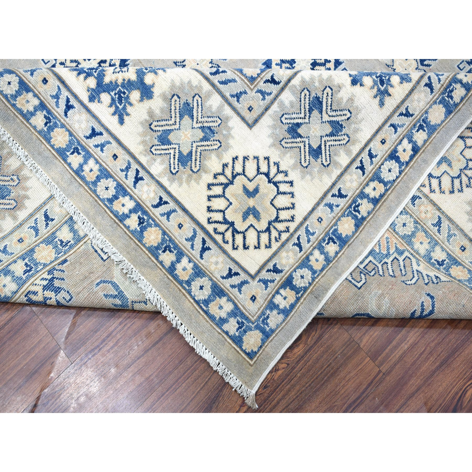 """9'8""""x13'9"""" Gray Vintage Look Kazak All Over Design Natural Wool Hand Knotted Oriental Rug"""