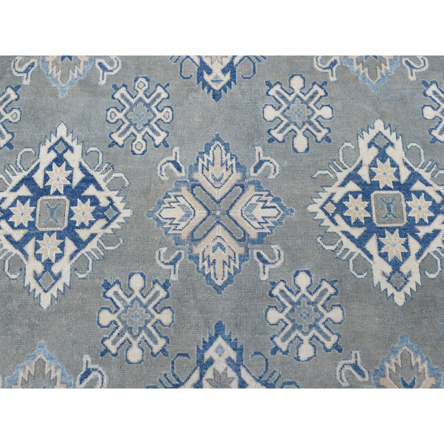 """10'1""""x13'6"""" Gray Vintage Look Kazak All Over Design Natural Wool Hand Knotted Oriental Rug"""