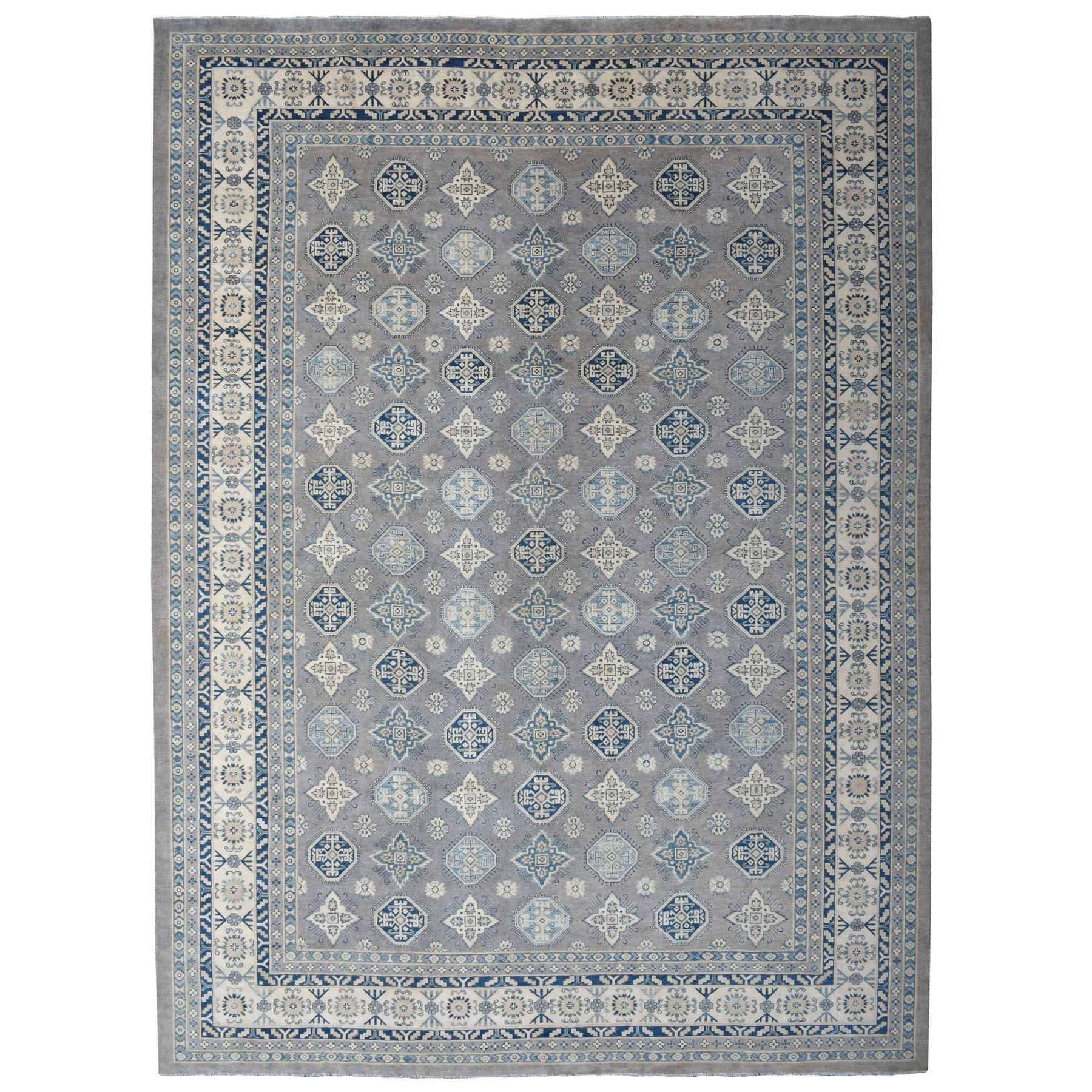 "12'1""x17'1"" Oversized Gray Vintage Look Kazak All Over Design Hand Knotted Natural Wool Rug"