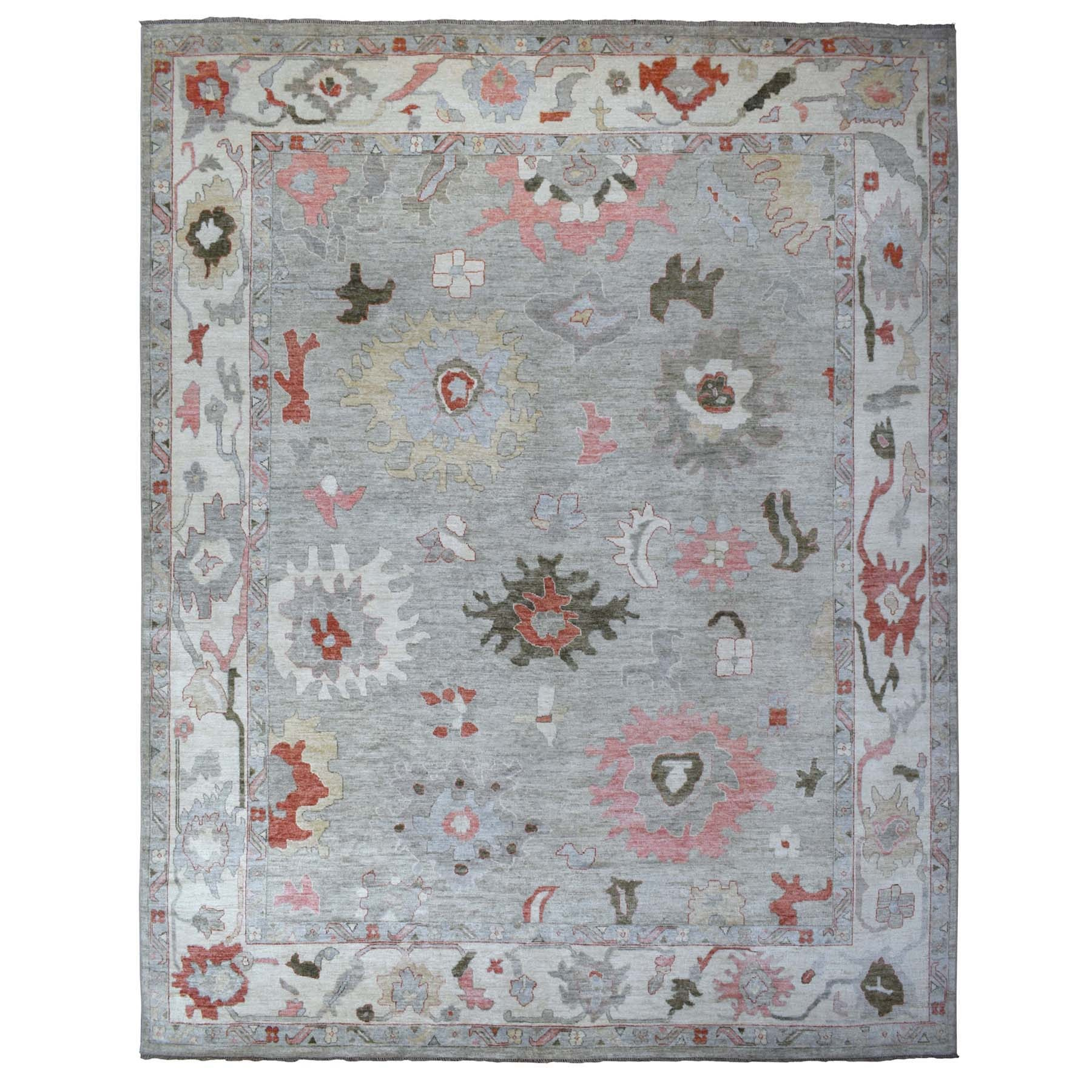 12'x15' Hand Knotted Gray Oversize Angora Oushak With Soft Velvety Wool Oriental Rug