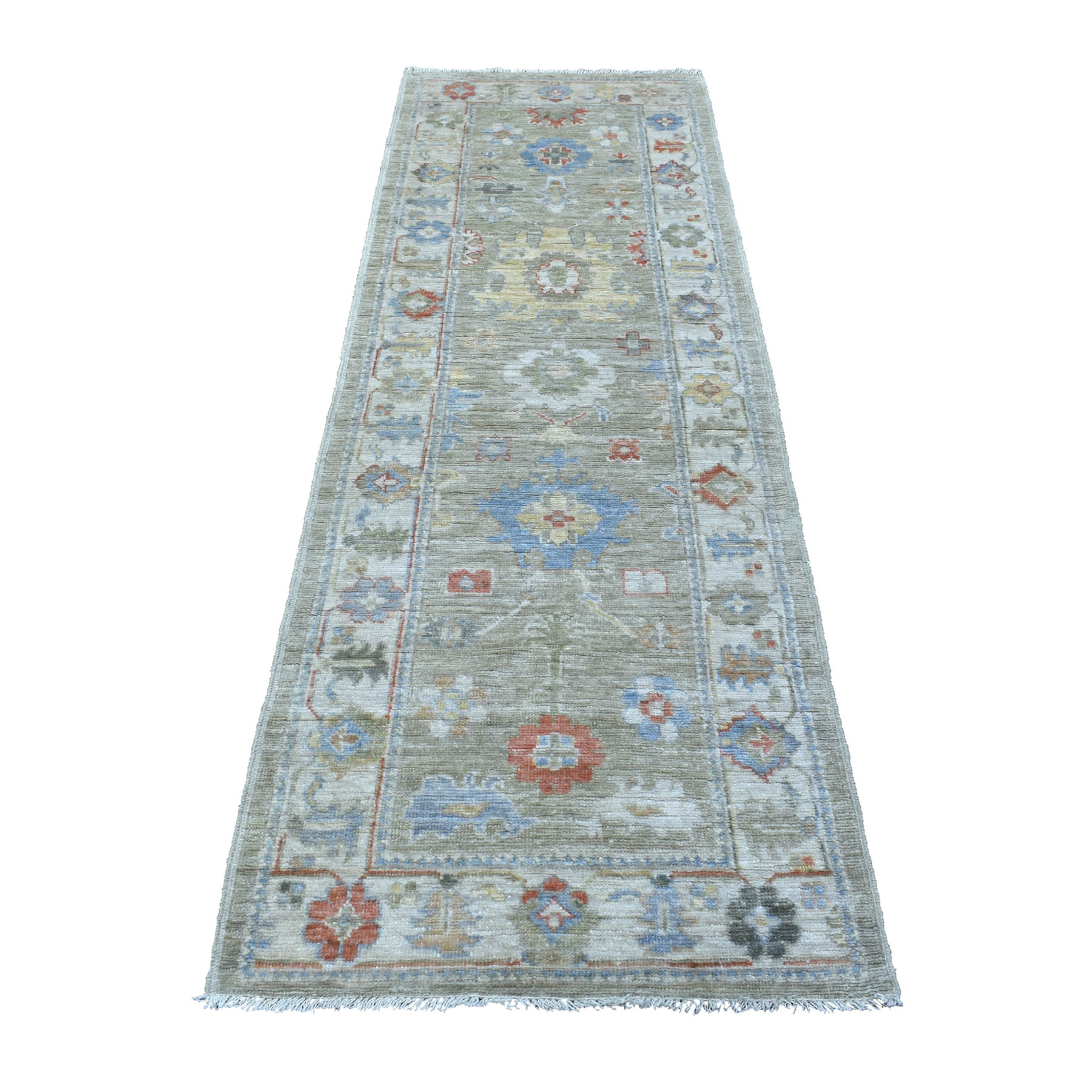 "2'8""X8' Soft & Supple Wool Hand Knotted Green Angora Oushak Oriental Runner Rug moae60c6"