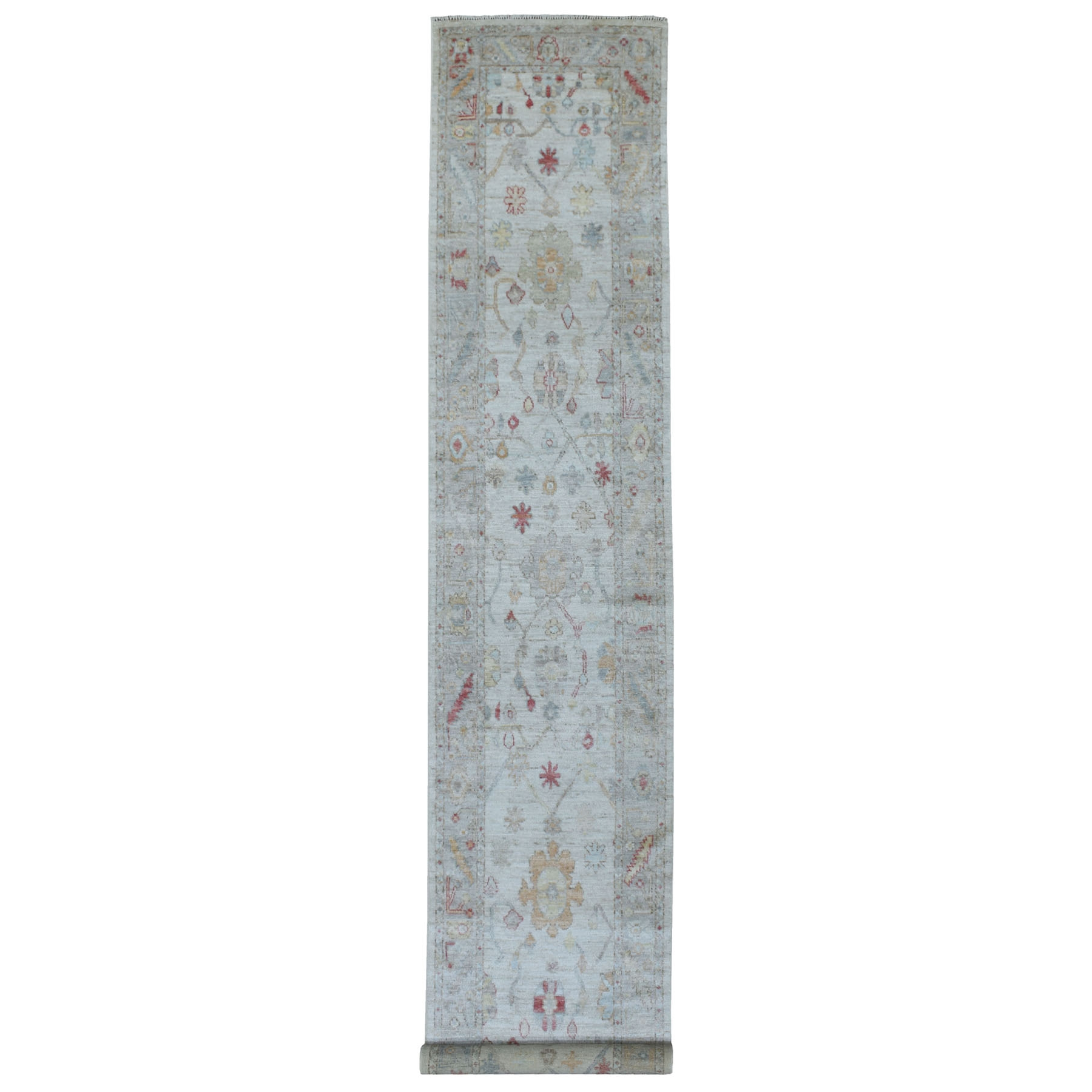 """2'10""""X16' Washed Out Gray Angora Oushak Soft To The Touch Wool Pile Hand Knotted Oriental Xl Runner Rug moae608b"""