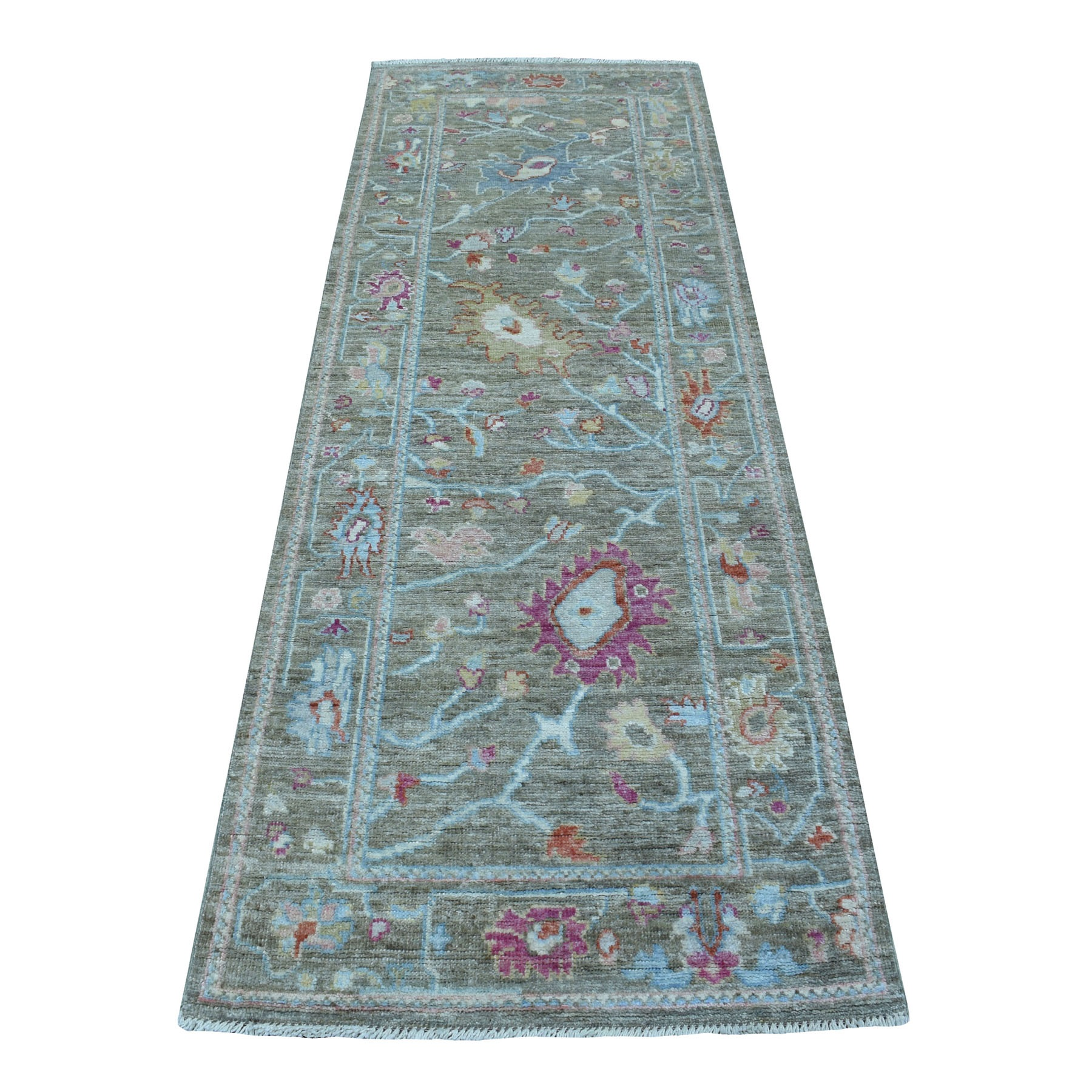 "2'8""X7'9"" Olive Green Angora Oushak With Floral Motifs Pure Wool Hand Knotted Oriental Runner Rug moae608c"