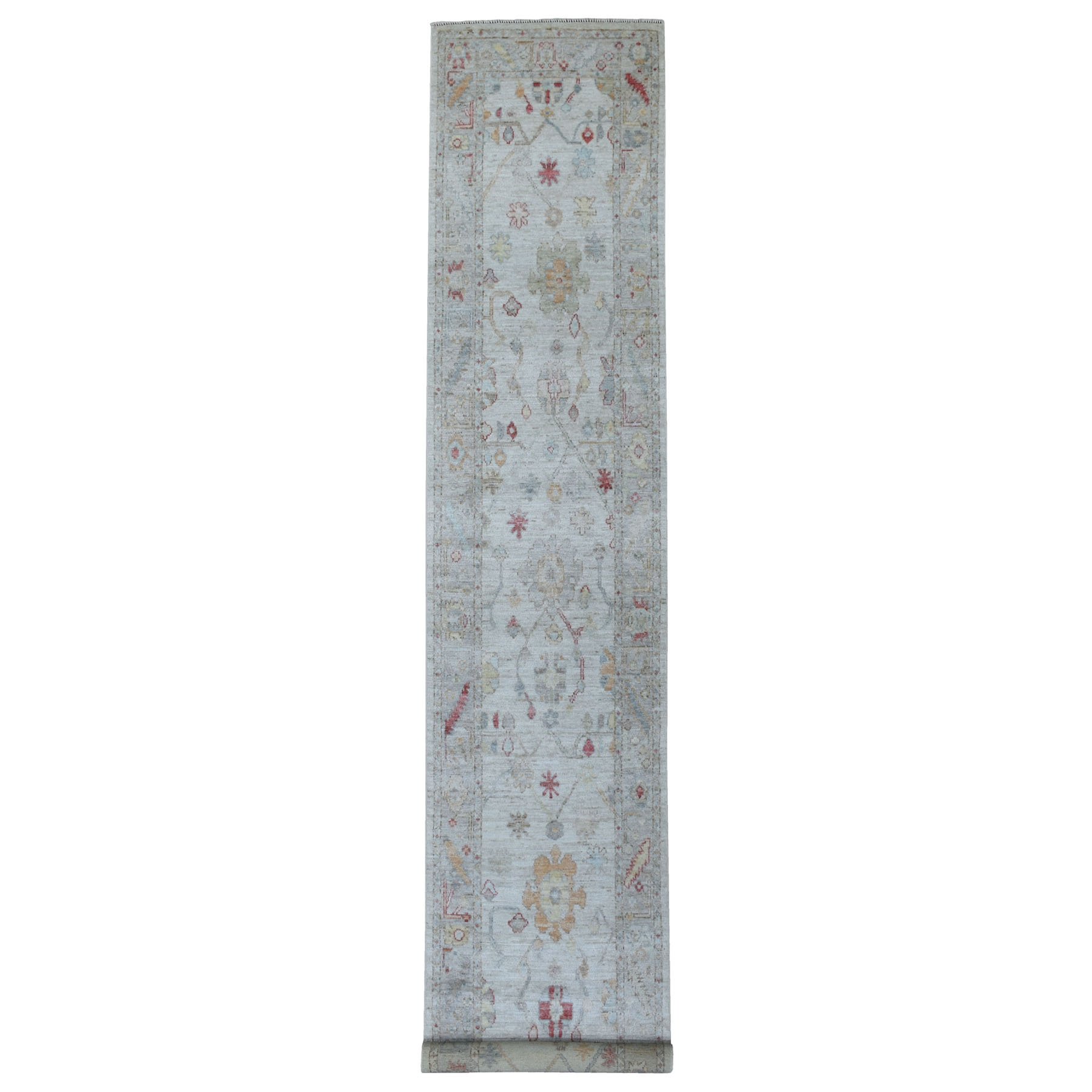 """2'9""""X16' Washed Out Gray Angora Oushak, Soft To The Touch Wool Pile Hand Knotted Oriental Xl Runner Rug moae6089"""