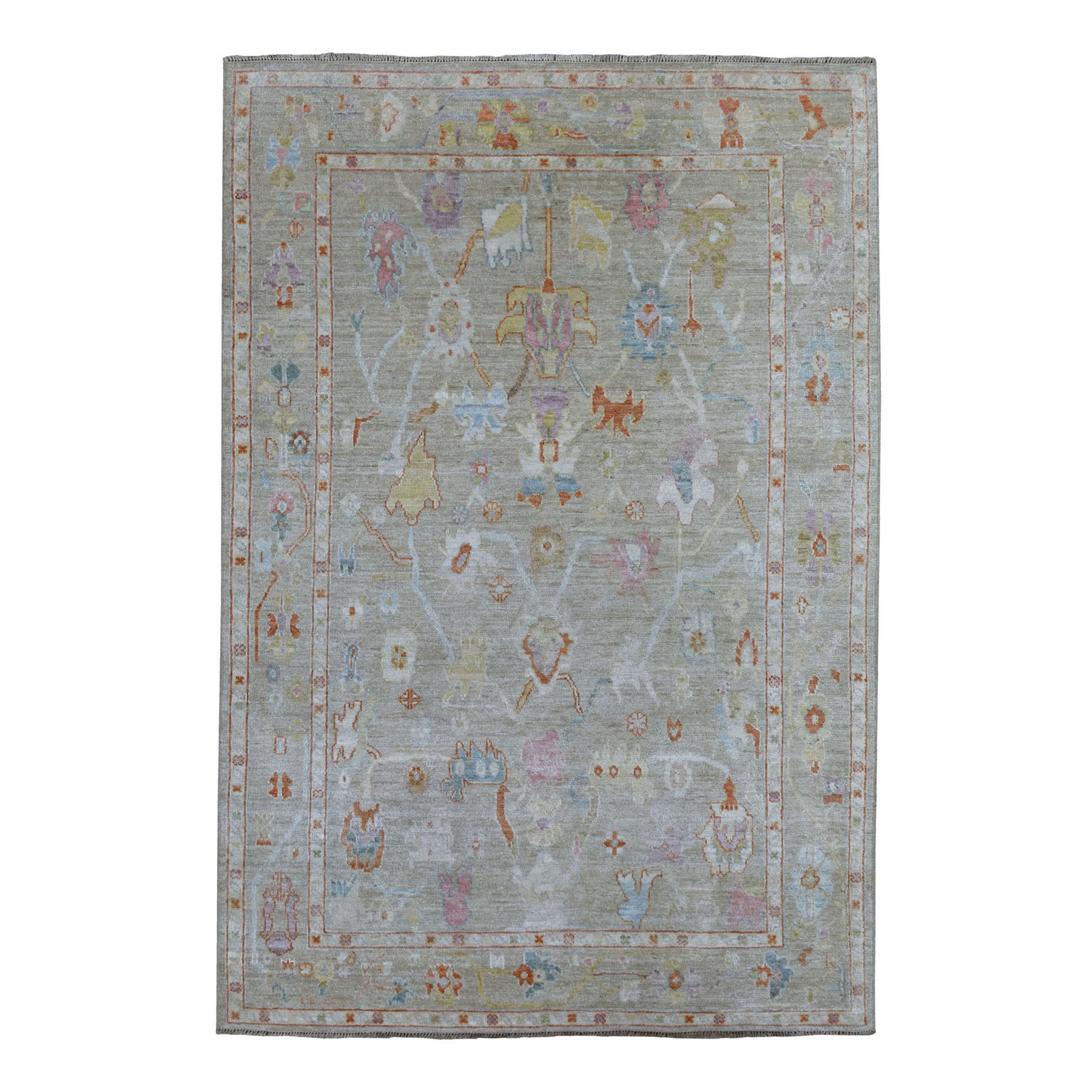 """6'2""""x8'10"""" Hand Knotted Monochromatic Gray With Touches Of Orange Angora Oushak Pure Wool Oriental Rug"""