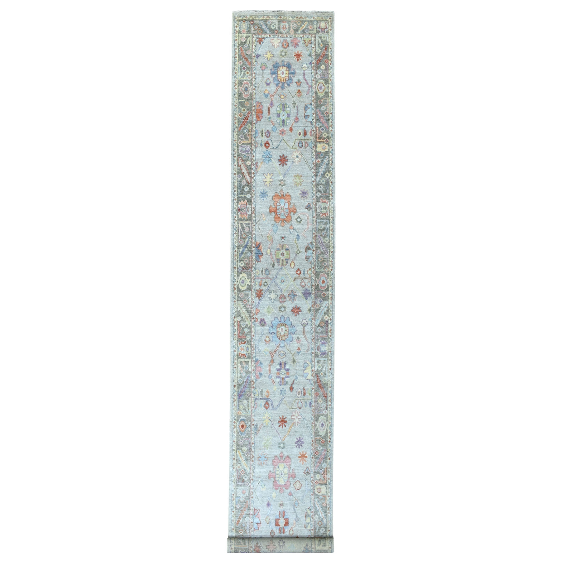 "2'5""X17'1"" Shiny Wool Hand Knotted Gray With Soft Color Angora Oushak Oriental Xl Runner Rug moae6aae"