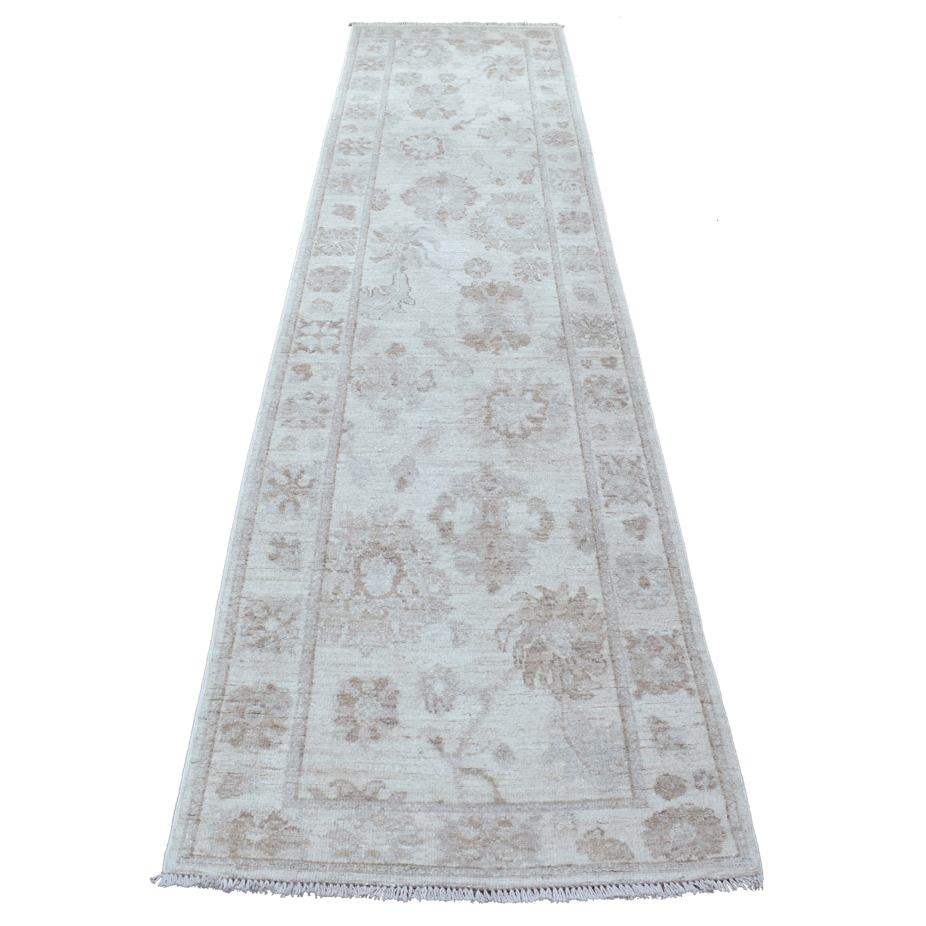 "2'9""X11'8"" Beige Angora Oushak With Floral Motifs Soft & Vibrant Wool Hand Knotted Oriental Runner Rug moae6aba"