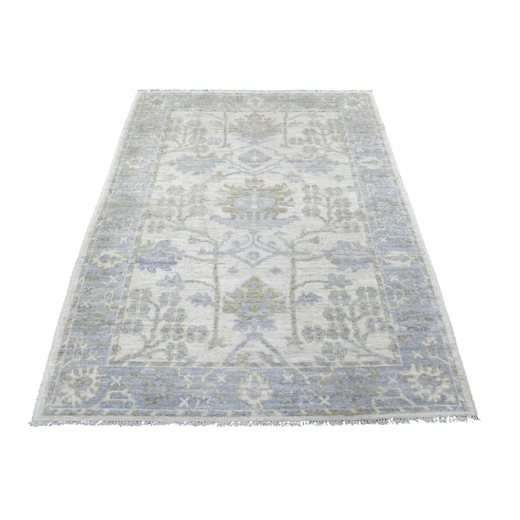 """4'2""""x6' Washed Out Gray Angora Oushak With Soft Velvety Wool Hand Knotted Oriental Rug"""