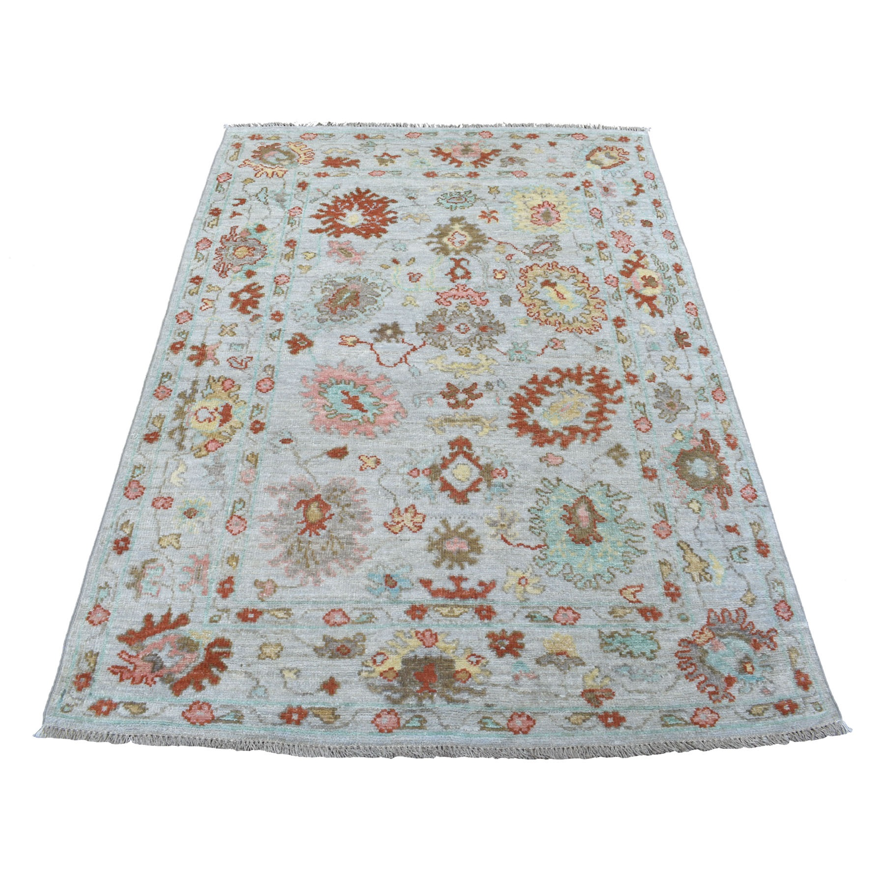 4'x6' Monochromatic Gray With Pop Of Color Angora Oushak Shiny Wool Hand Knotted Oriental Rug