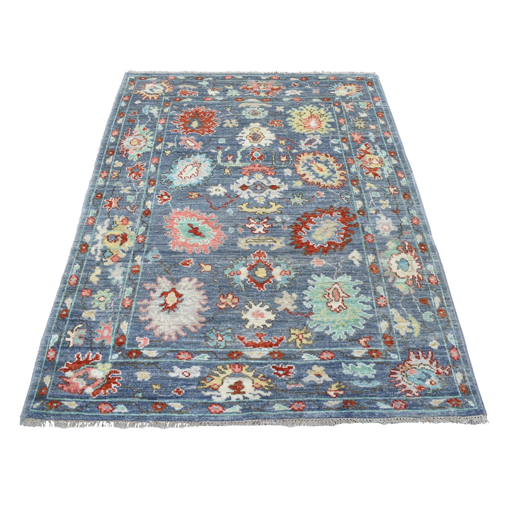 """4'x5'10"""" Denim Blue Angora Oushak In A Colorful Palette Pure Wool Hand Knotted Oriental Rug"""