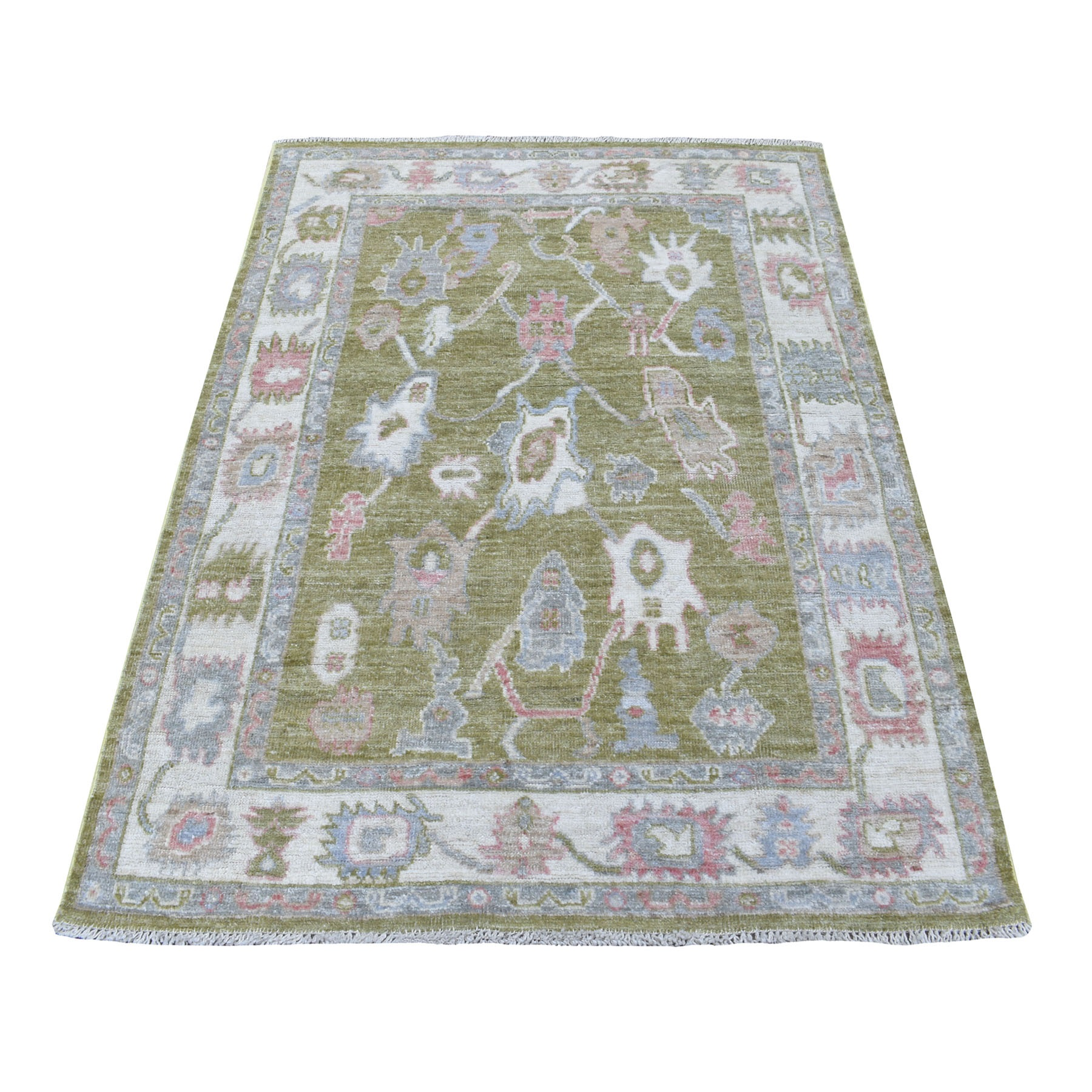 "4'X5'8"" Soft & Supple Wool Hand Knotted Green With Touches Of Light Blue Angora Oushak Oriental Rug moae6ae7"