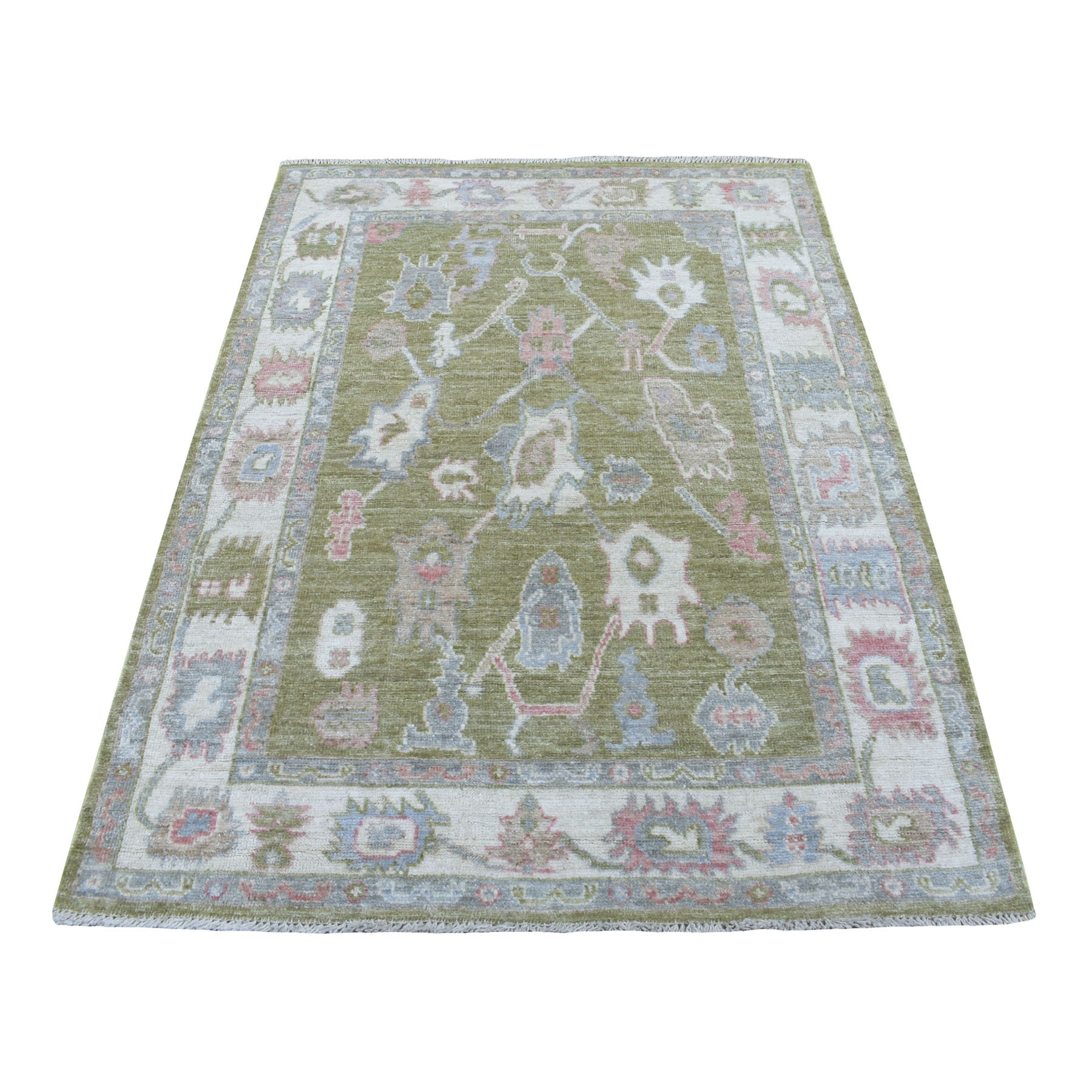 "3'10""X5'8"" Soft & Supple Wool Hand Knotted Green Angora Oushak Oriental Rug moae6a6b"