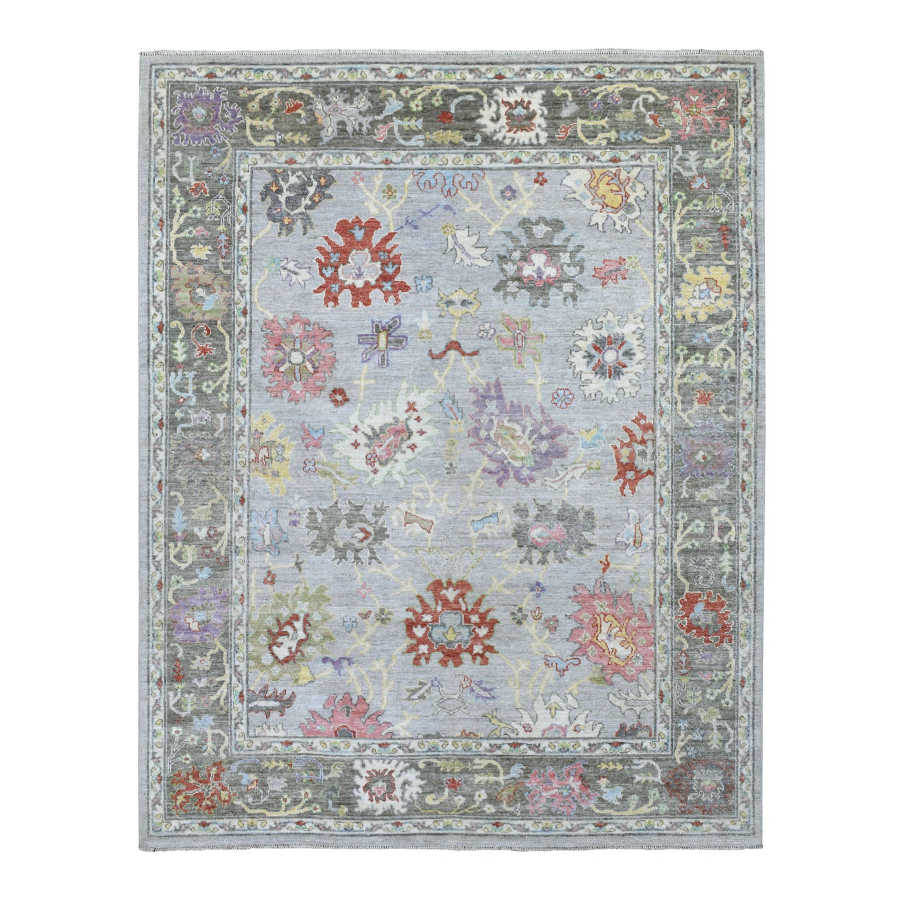 "8'x9'9"" Light Gray Angora Oushak With Floral Motifs Glimmery Wool Hand Knotted Oriental Rug"