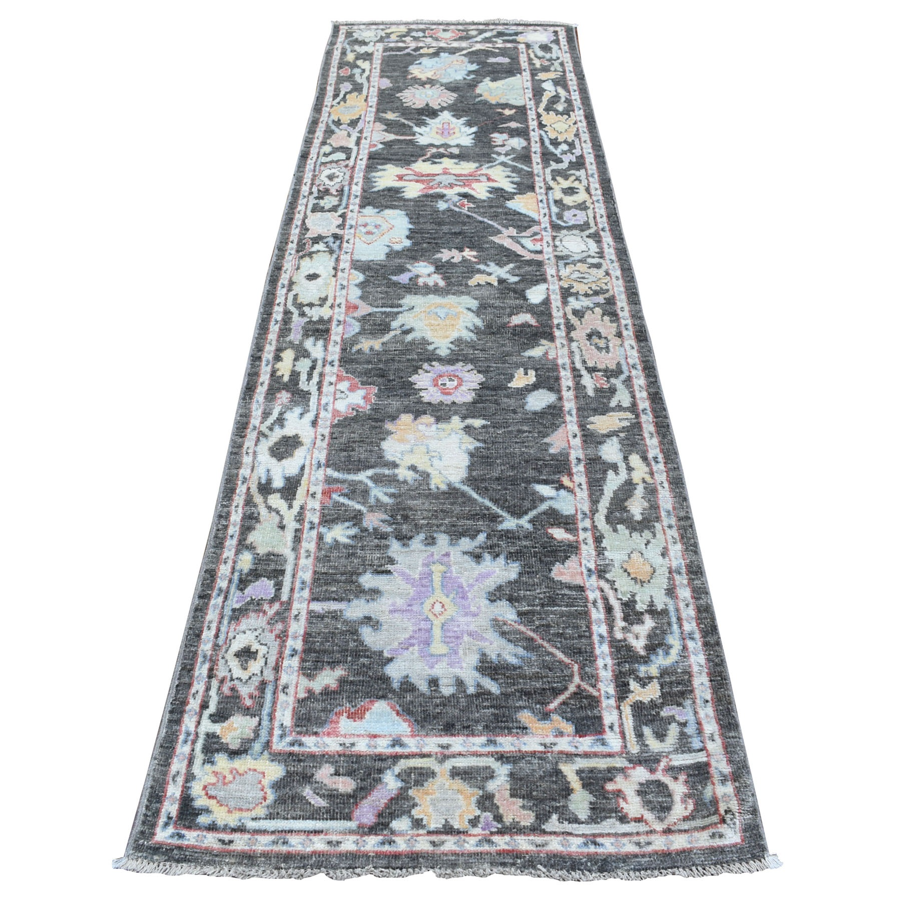 "2'9""X9'8"" Hand Knotted Charcoal Black Angora Oushak With Pliable Wool Oriental Runner Rug moae6bbd"