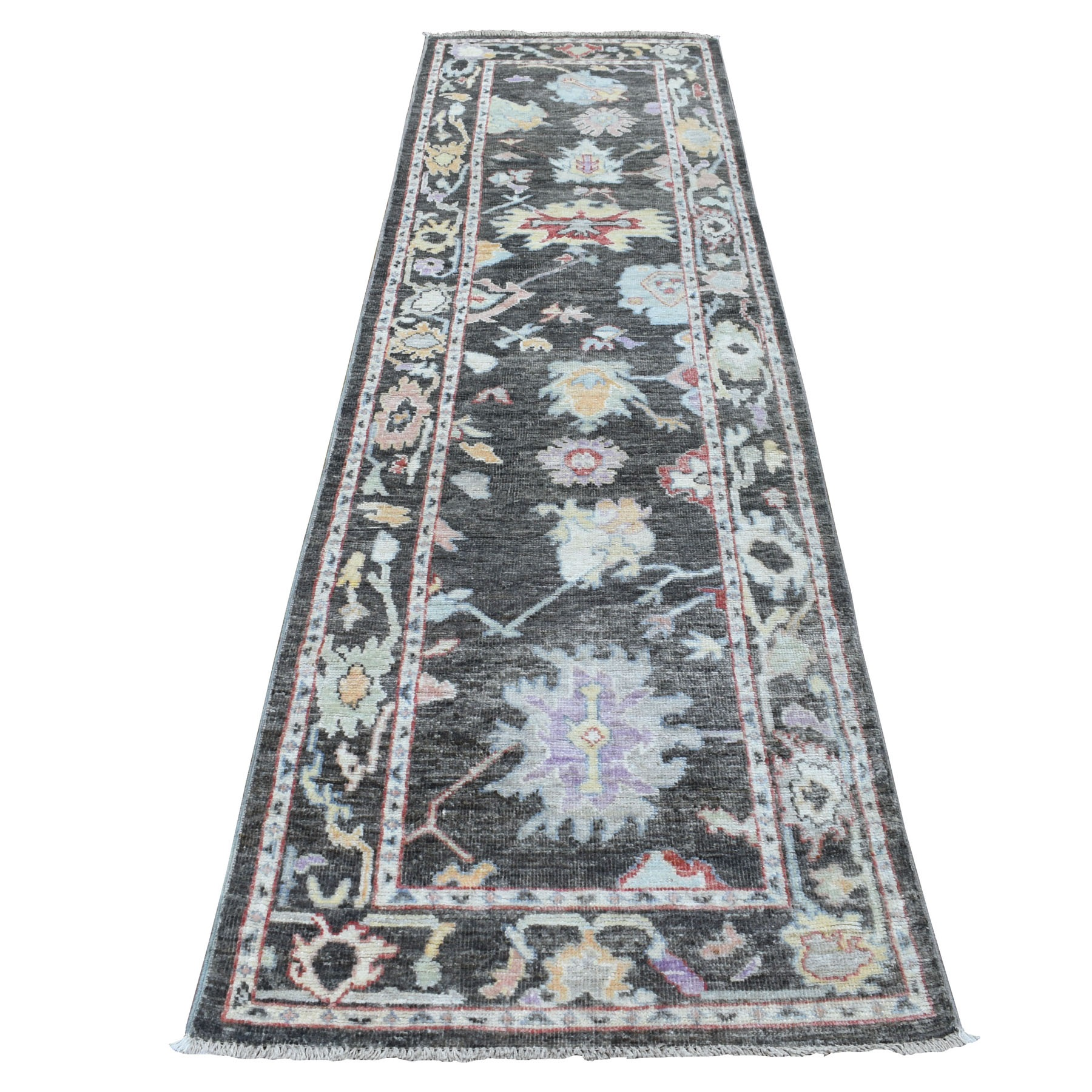 """2'9""""X9'9"""" Shiny Wool Hand Knotted Charcoal Black Angora Oushak Oriental Runner Rug moae6bbe"""