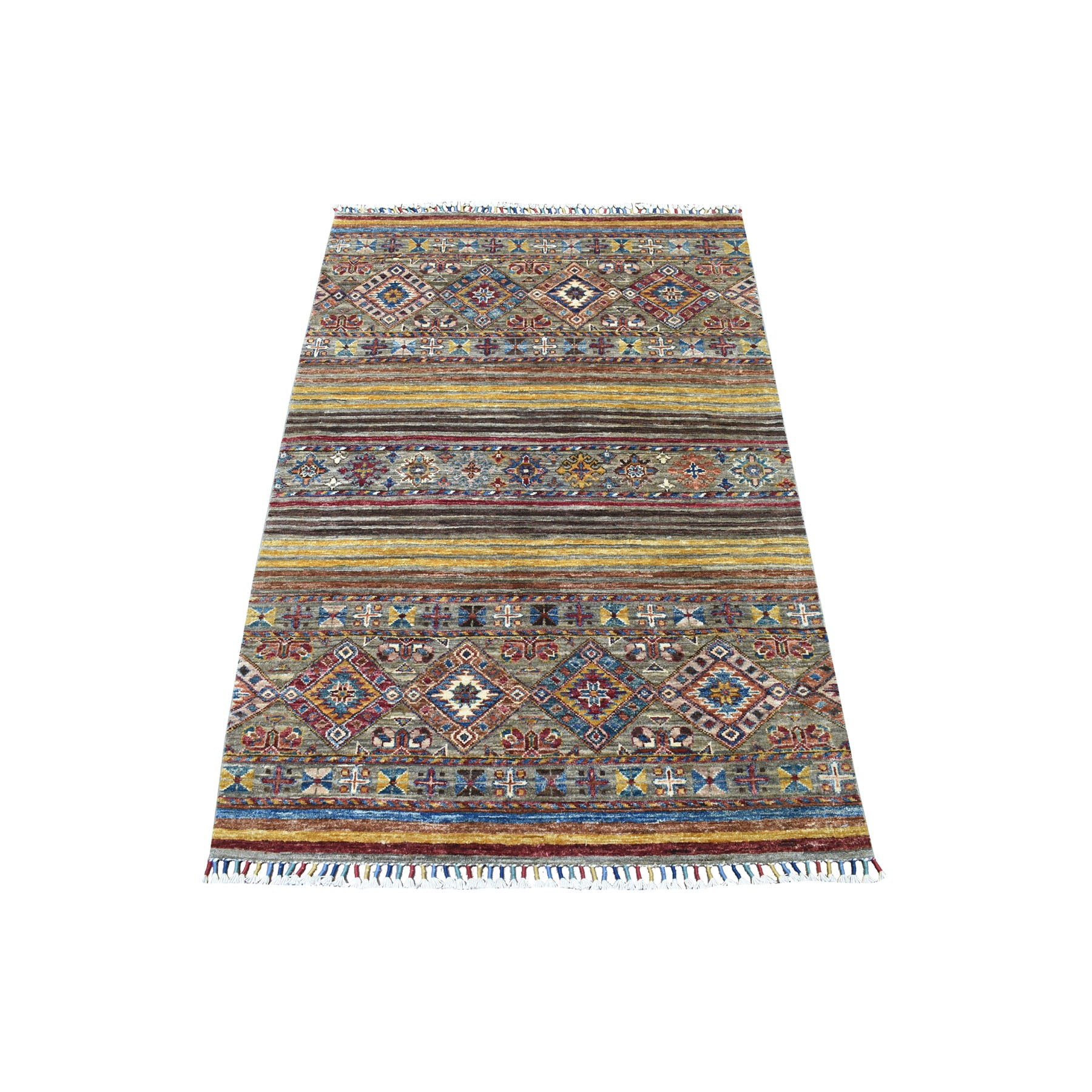 "3'3""x5' Hand Knotted Mustard Yellow With Colorful Tassles Super Kazak Khorjin Design Afghan Wool Oriental Rug"