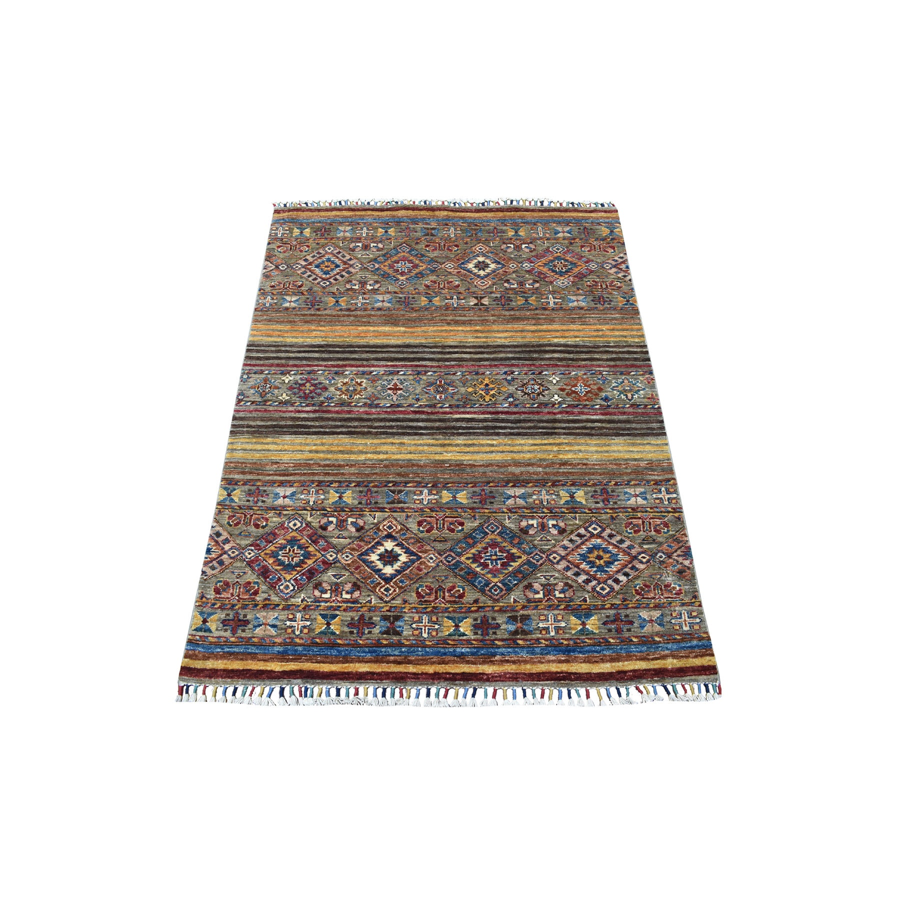 "3'3""x4'8"" Hand Knotted Mustard Yellow With Colorful Tassles Super Kazak Khorjin Design Afghan Wool Oriental Rug"