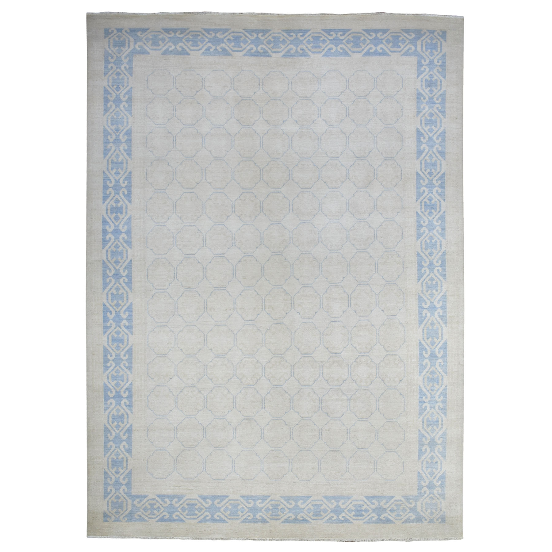 Agra And Turkish Collection Hand Knotted Ivory Rug No: 1113294